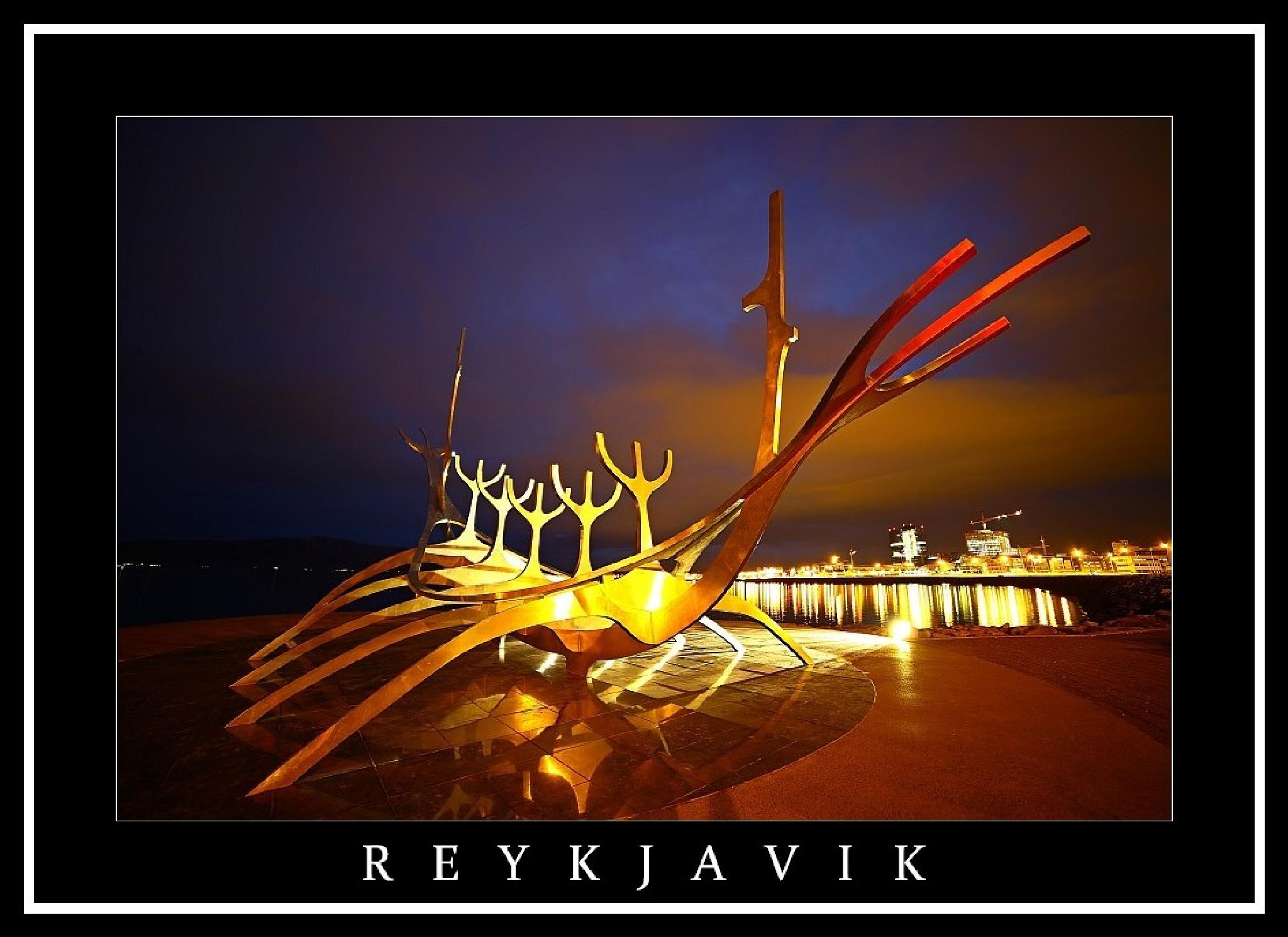 Photo in Cityscape #reykjavik #iceland #night #coloure #water #monument #art