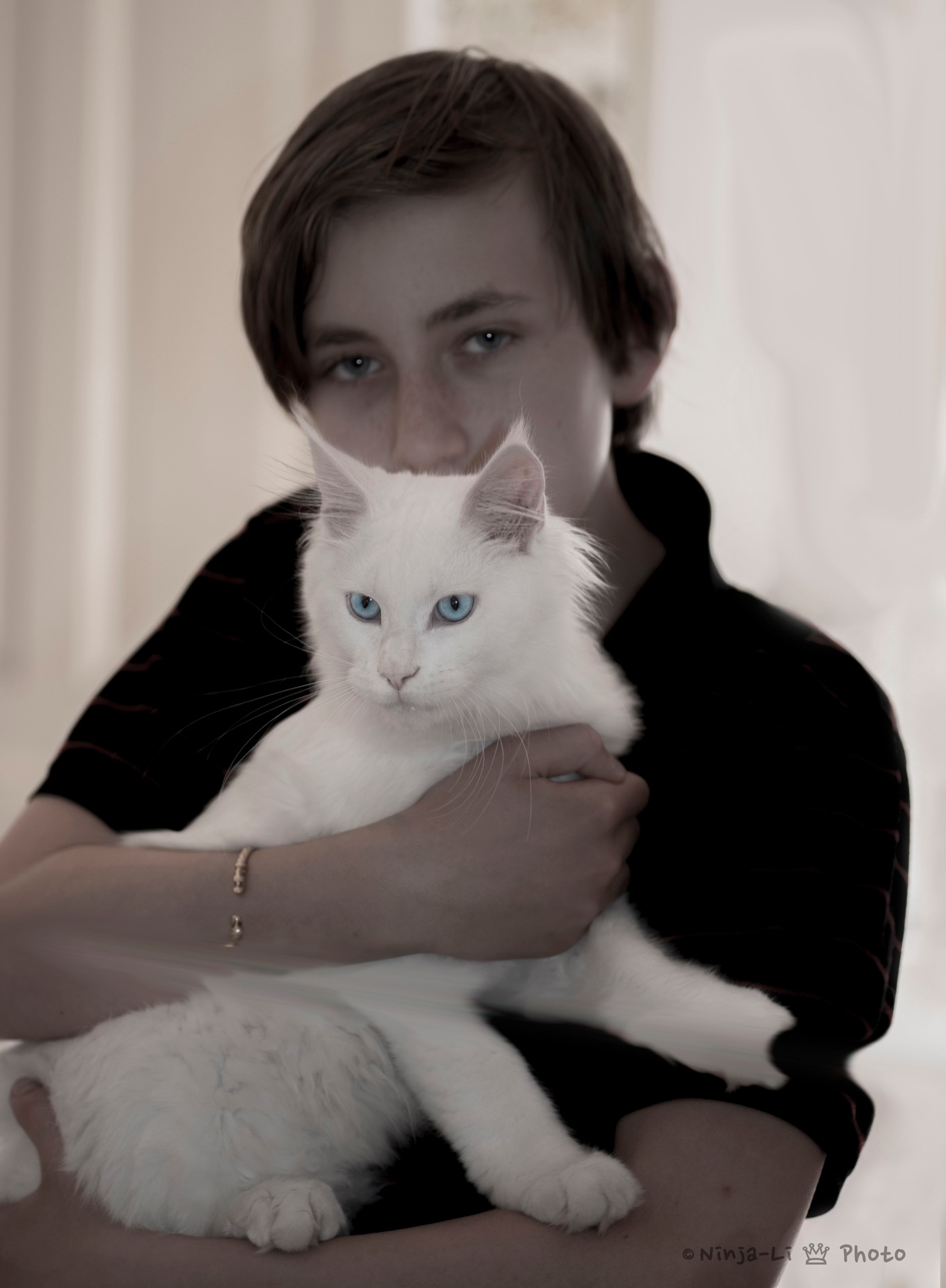 Son and cat by Ninja-Li Einarsen Stahre