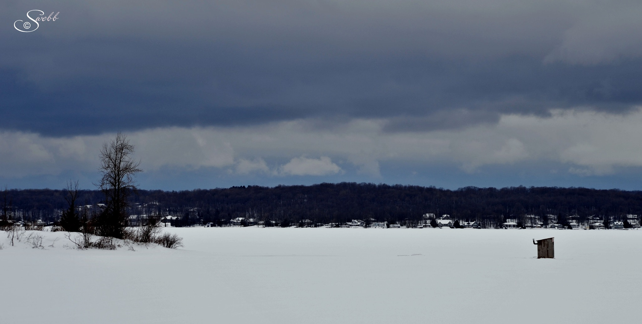 Photo in Random #winter #lake #rural #ice #trees #snow #clouds