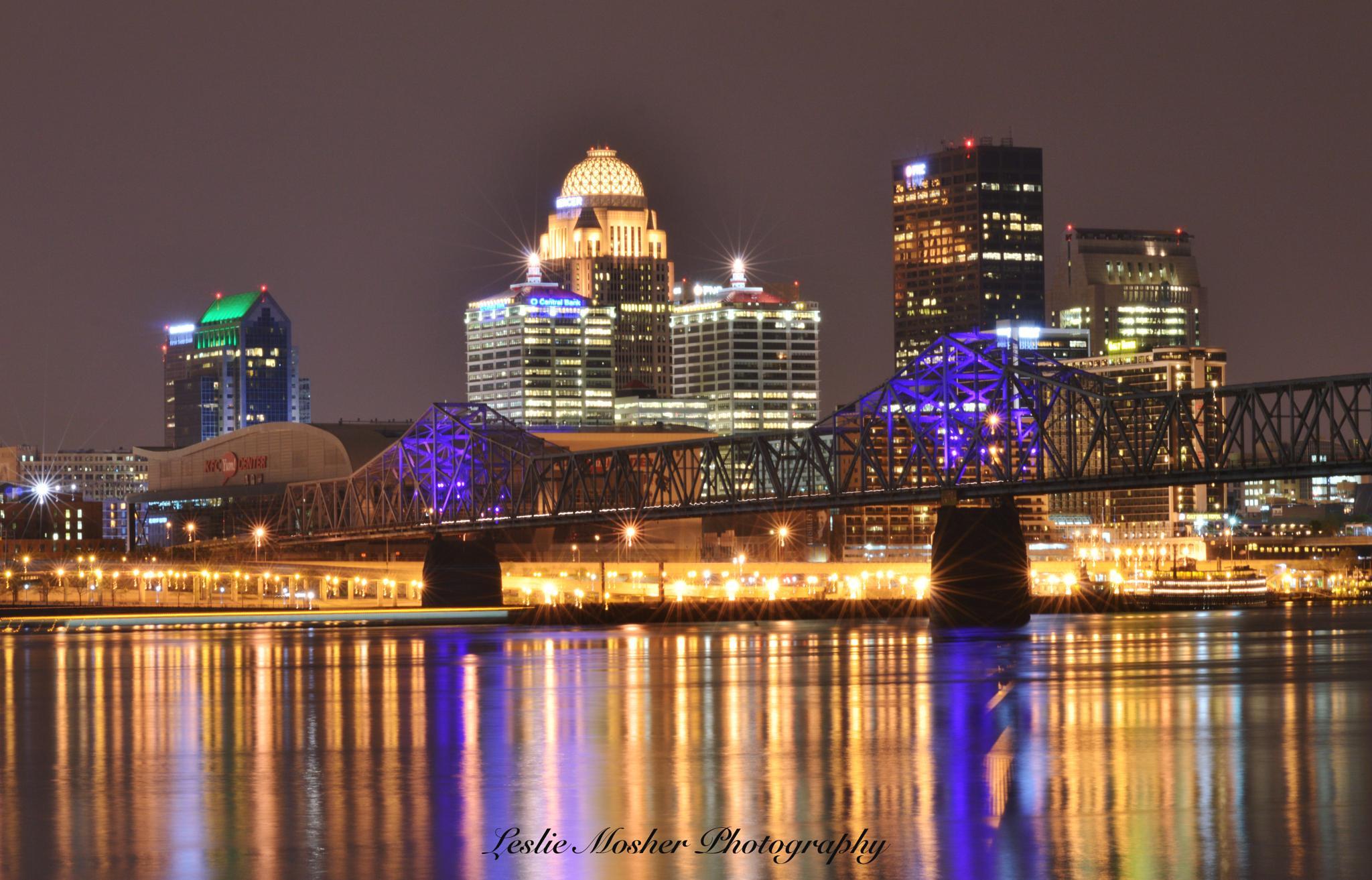 Louisville Ky night skyline  by Leslie Mosher