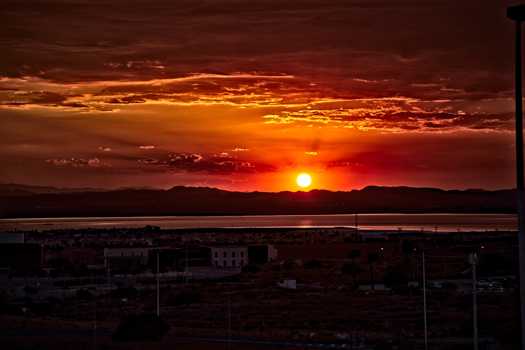 Sunset over Torrevieja saltlake by Anders Weinberg