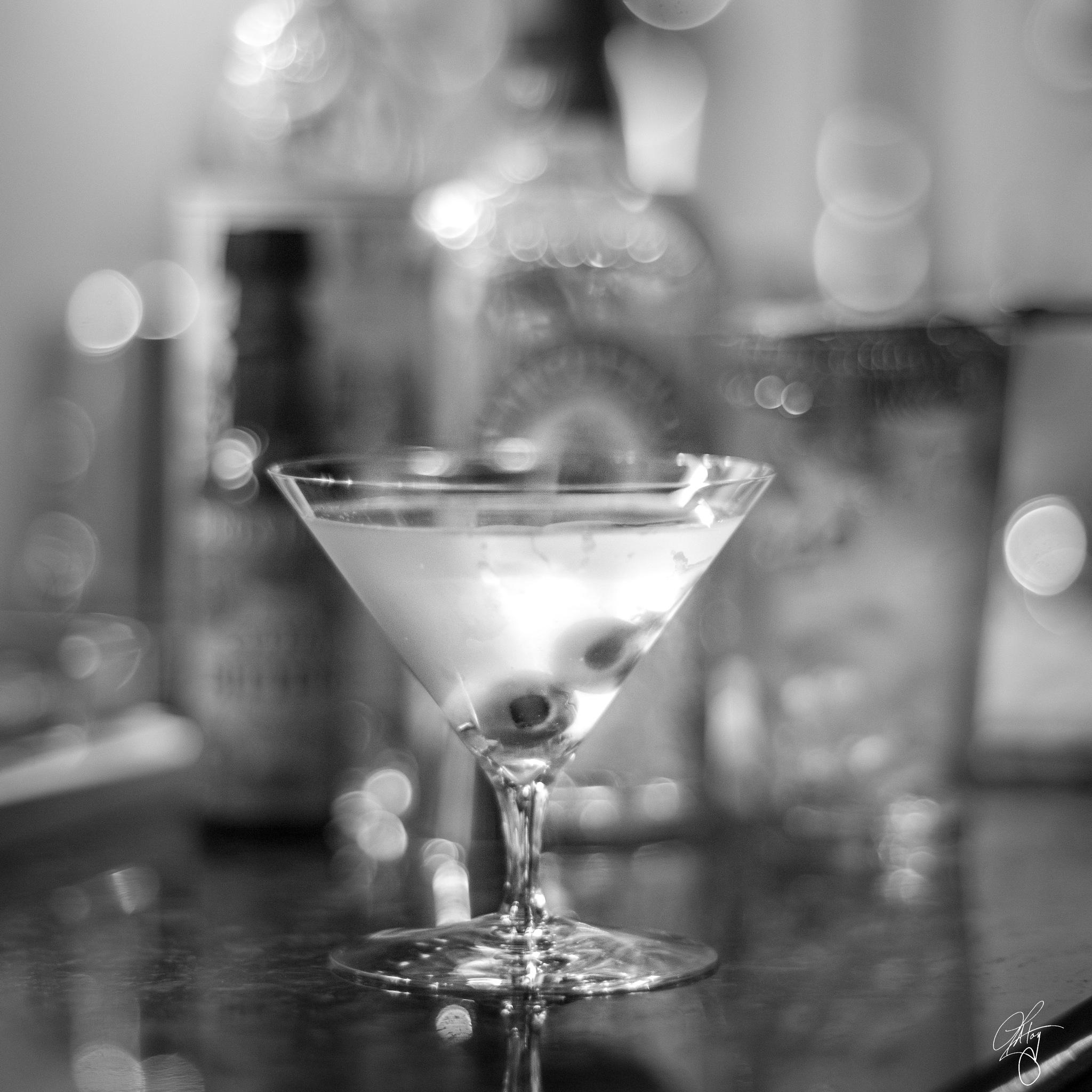 Classic Martini in Black and White by L.A. Toy