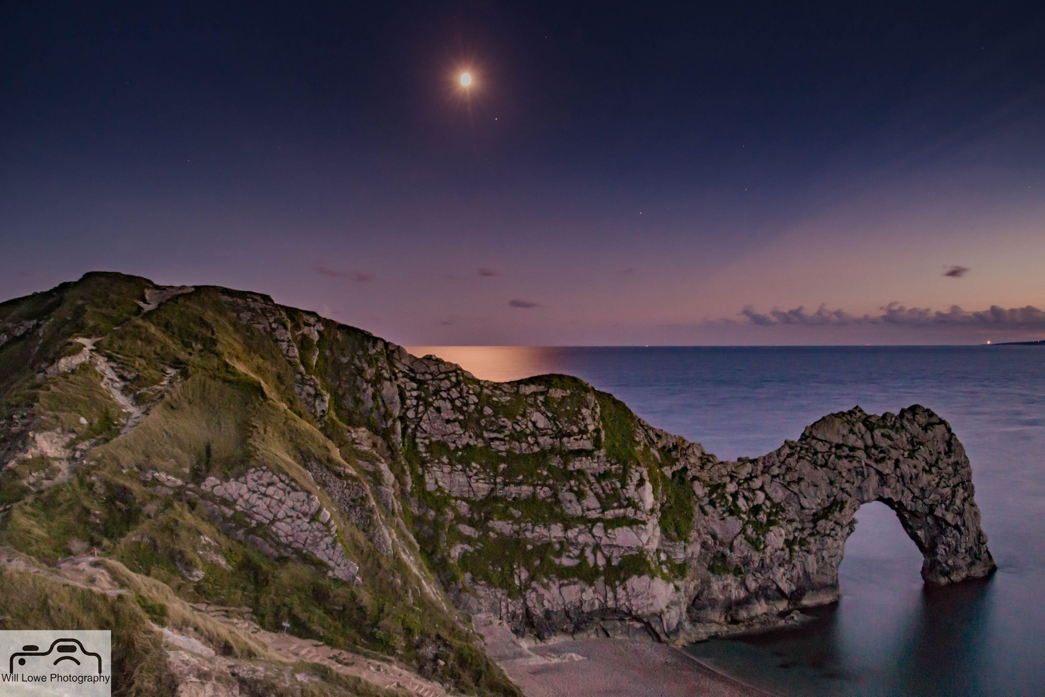 Moonrise over Durdle Door by Will Lowe Photography