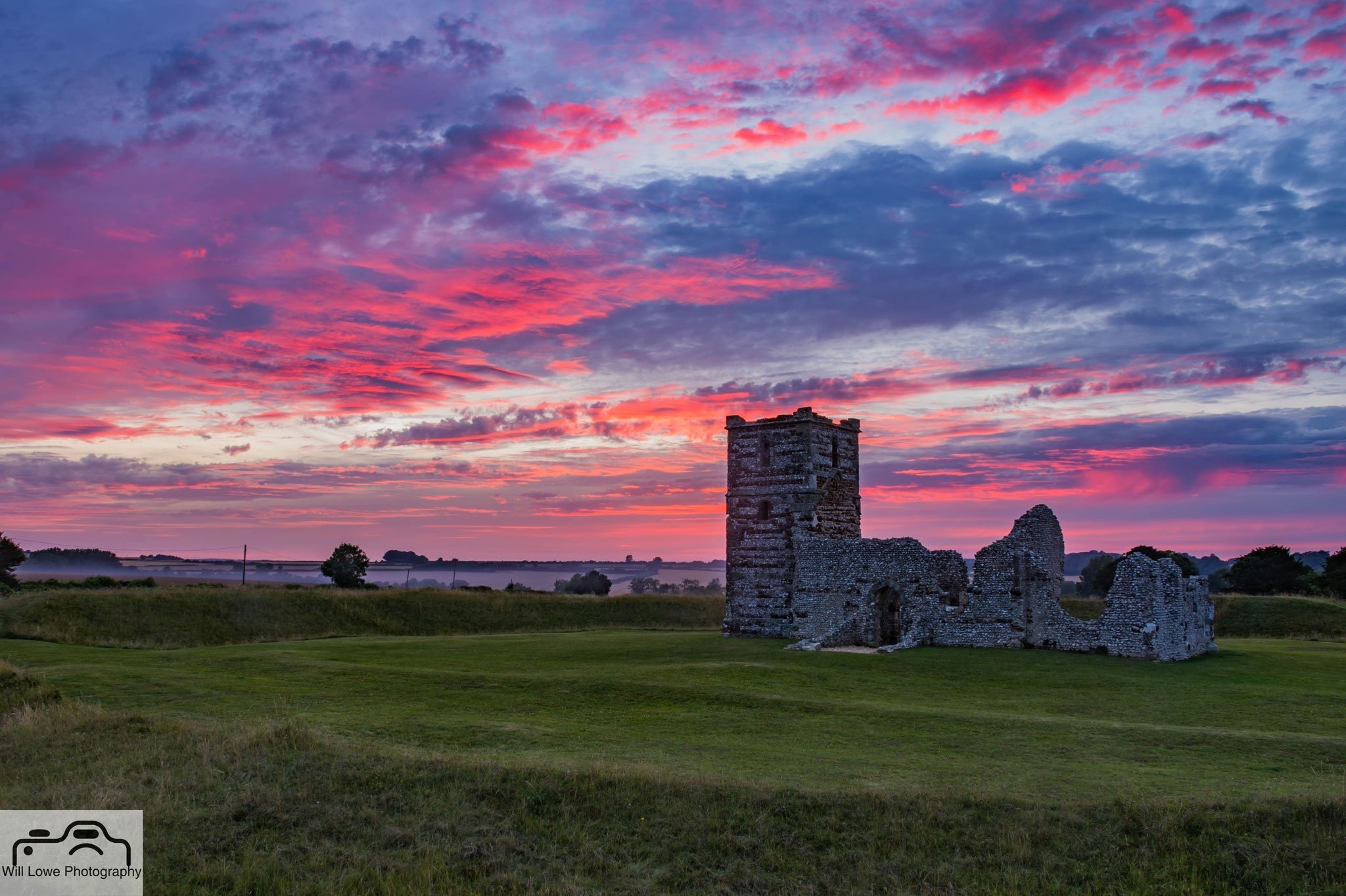 Sunset at Knowlton Church  by Will Lowe Photography