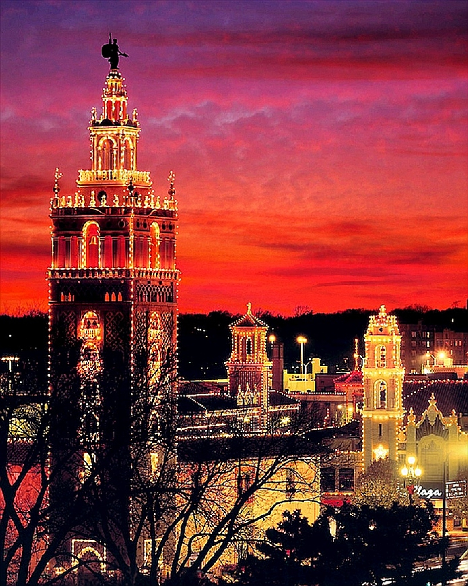The Giralda Tower decked out for Christmas / Country Club Plaza by Lorenzo (Larry) Jonree