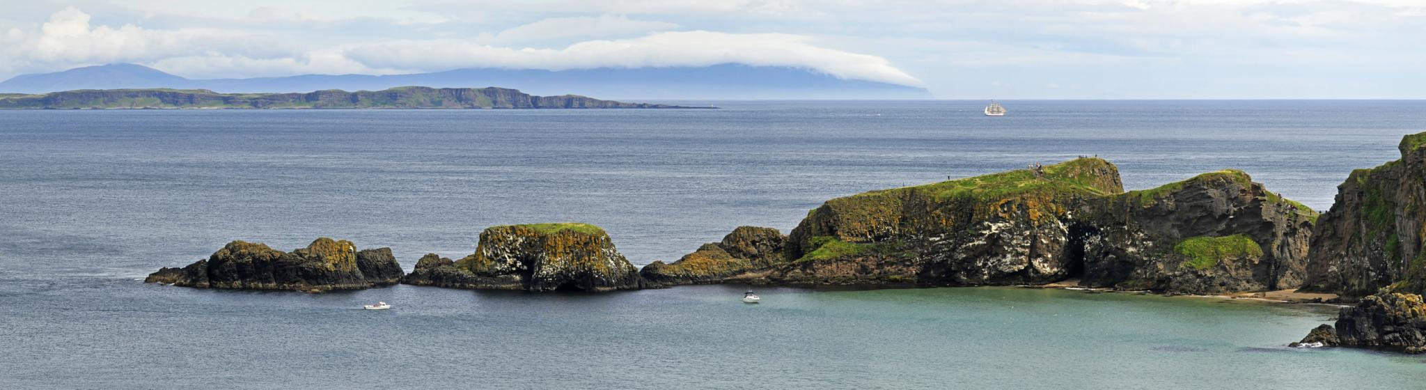 Photo in Landscape #ireland #carrick-a-rede #scotland #coast #ocean #cloud #rope bridge #tall ship