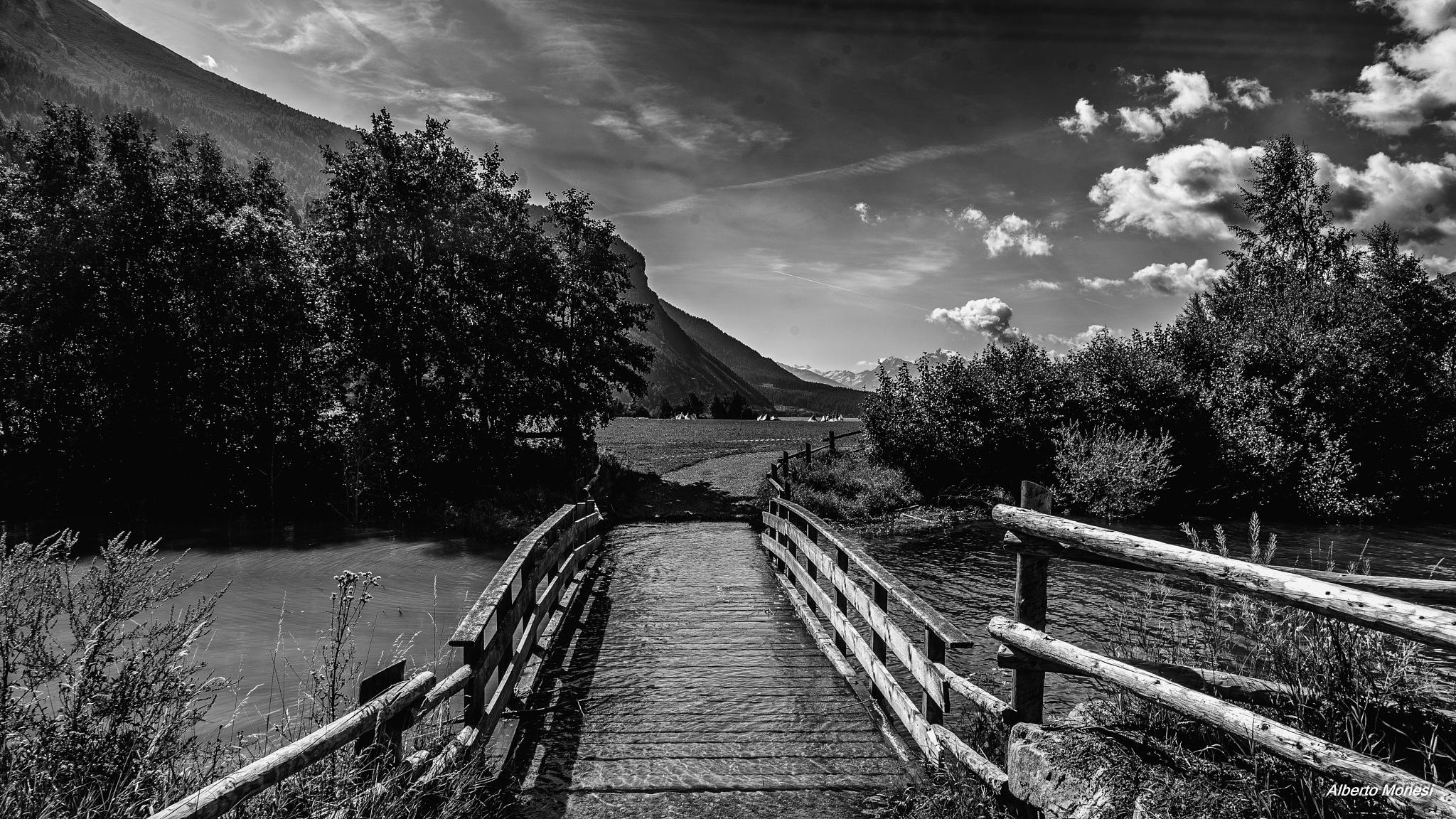 Photo in Black and White #ponticello #bridge #black and white #bianco e nero #monocromatico #trentino alto adige #lago di resia #lake #lago #curon venosta #landscape