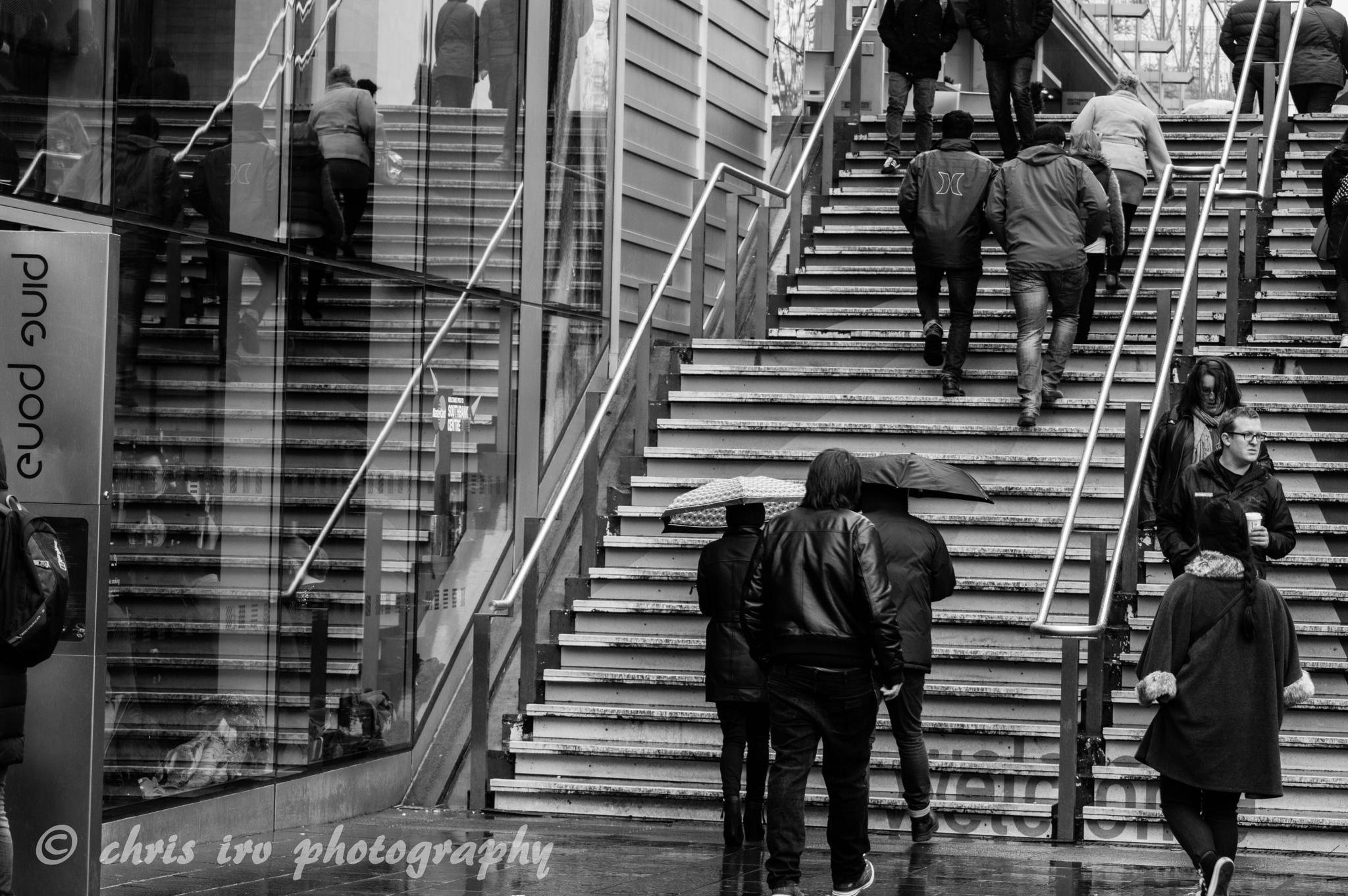 reflections on the stairs by chrisirv