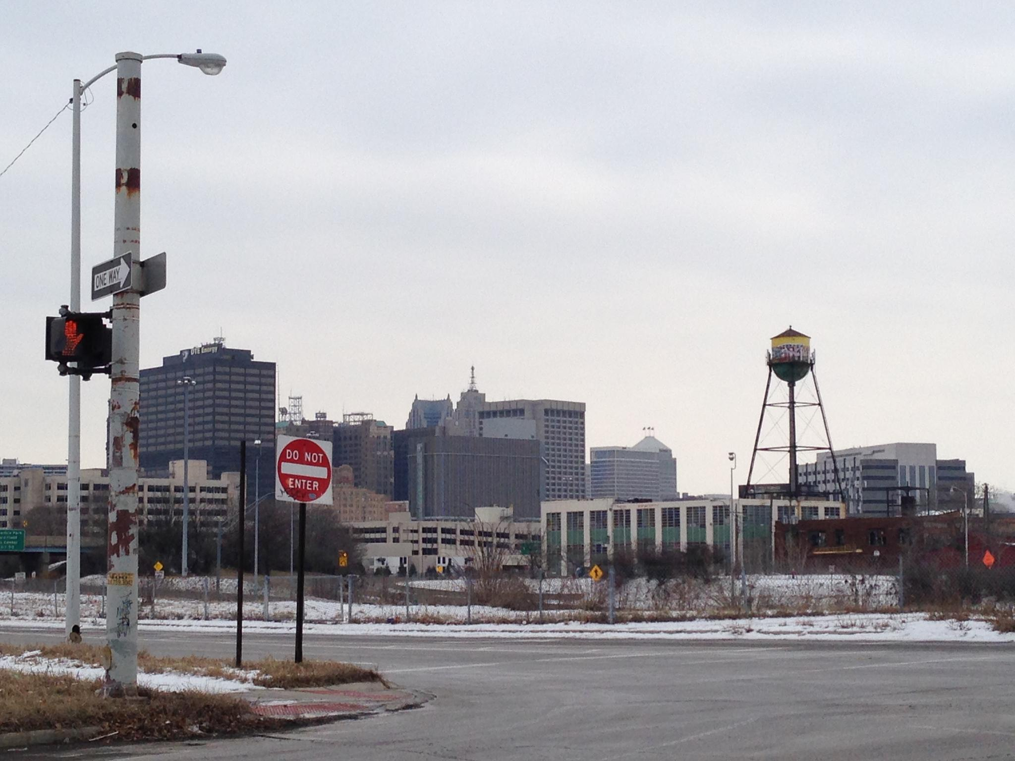 Photo in Street Photography #detroit #detroit skyline #water tower #abandoned buildings #stop sign #street sign #cross walk #street light #graffiti #tagging #mural #snow #winter #do not enter #warning #caution #dte energy #penobscot building #penobscot orb #one detroit center #skyscraper #skyscrapers #david stott building #downtown detroit #2141 photography