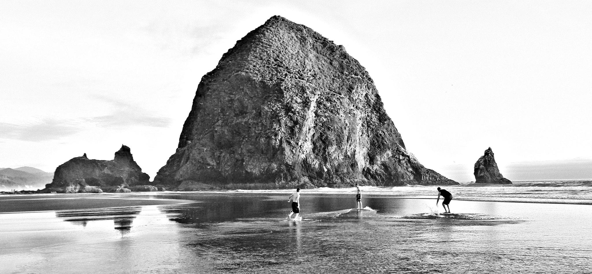 Photo in Cityscape #beach #surf #oregon #cannon beach #black and white #haystack rock #oregon coast