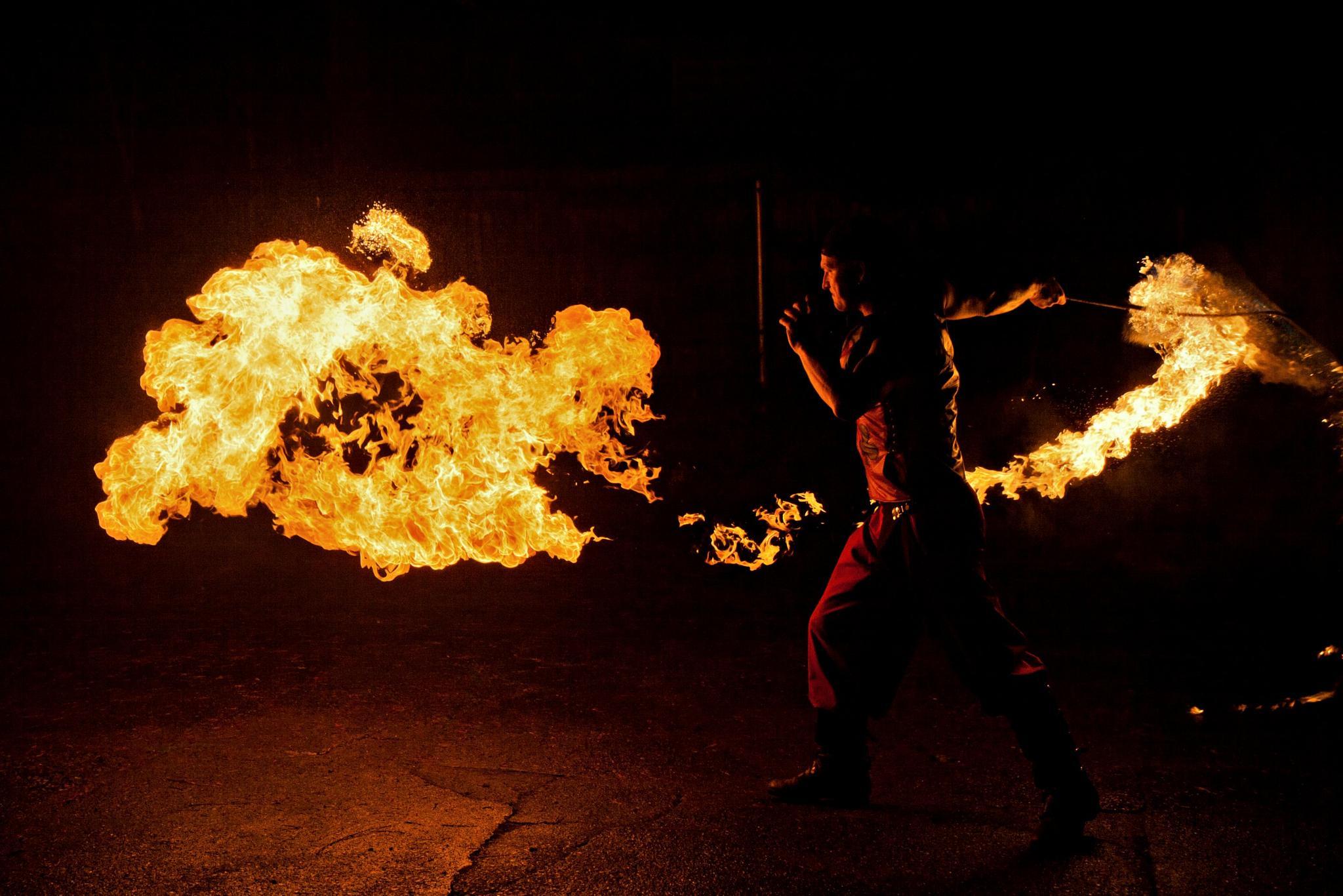 Photo in Portrait #fire #portland #troupe #whip #night #canon
