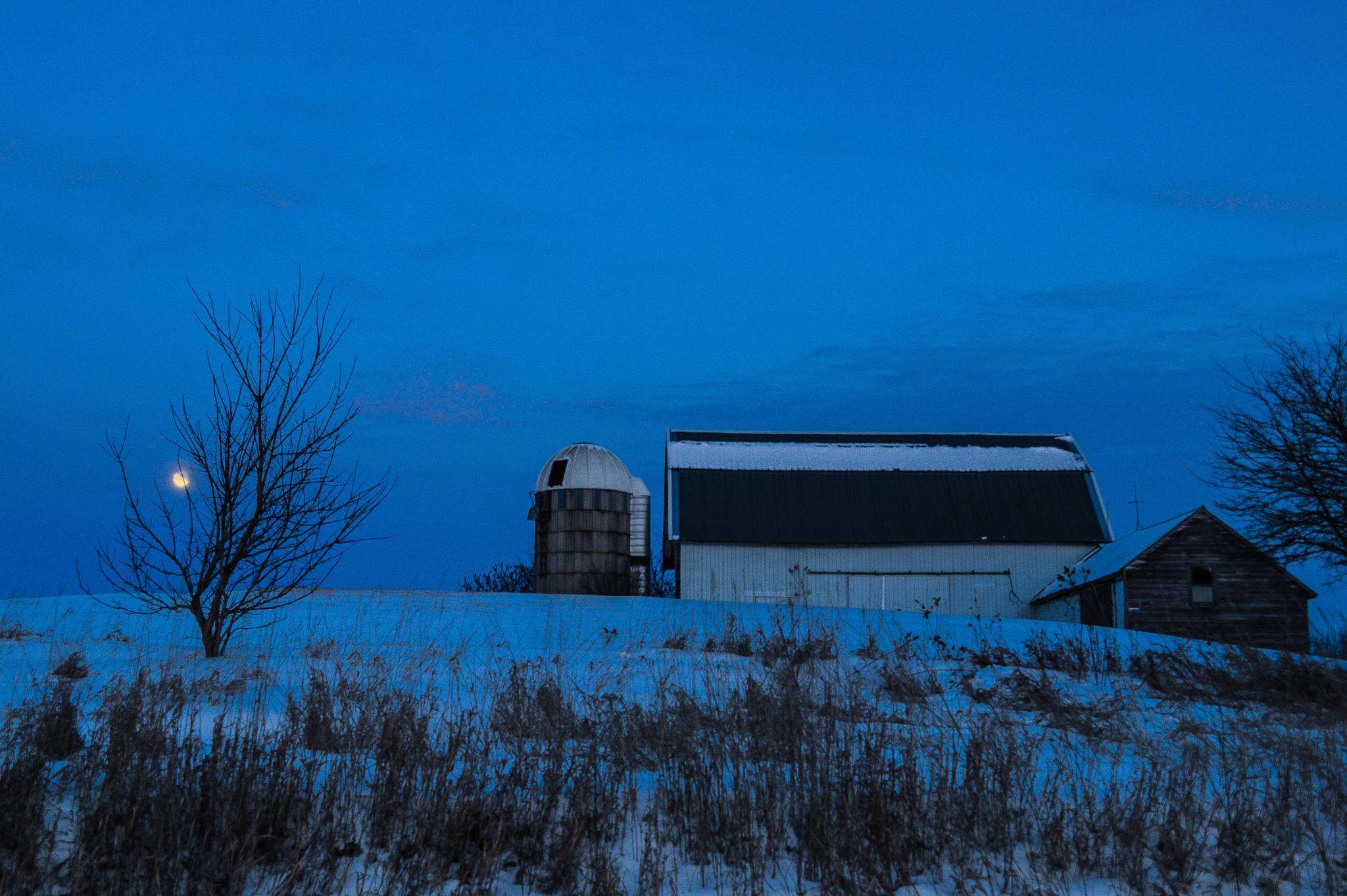Photo in Landscape #winter #dusk #moon #farm #clear #cold #jefferson county #wisconsin