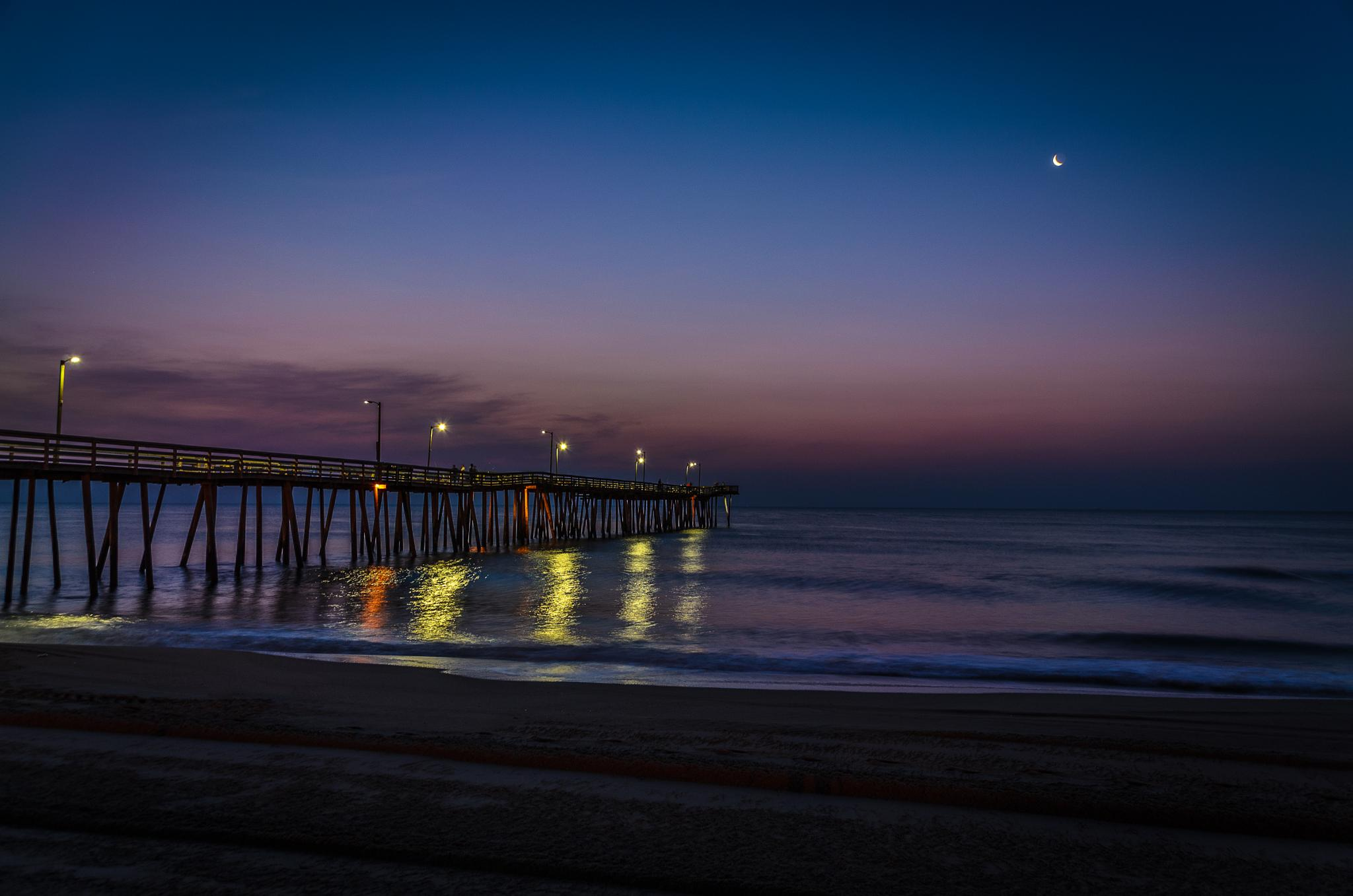 Presunrise at the Virginia Beach Fishing Pier & Crescent Moon by CharlieWilson