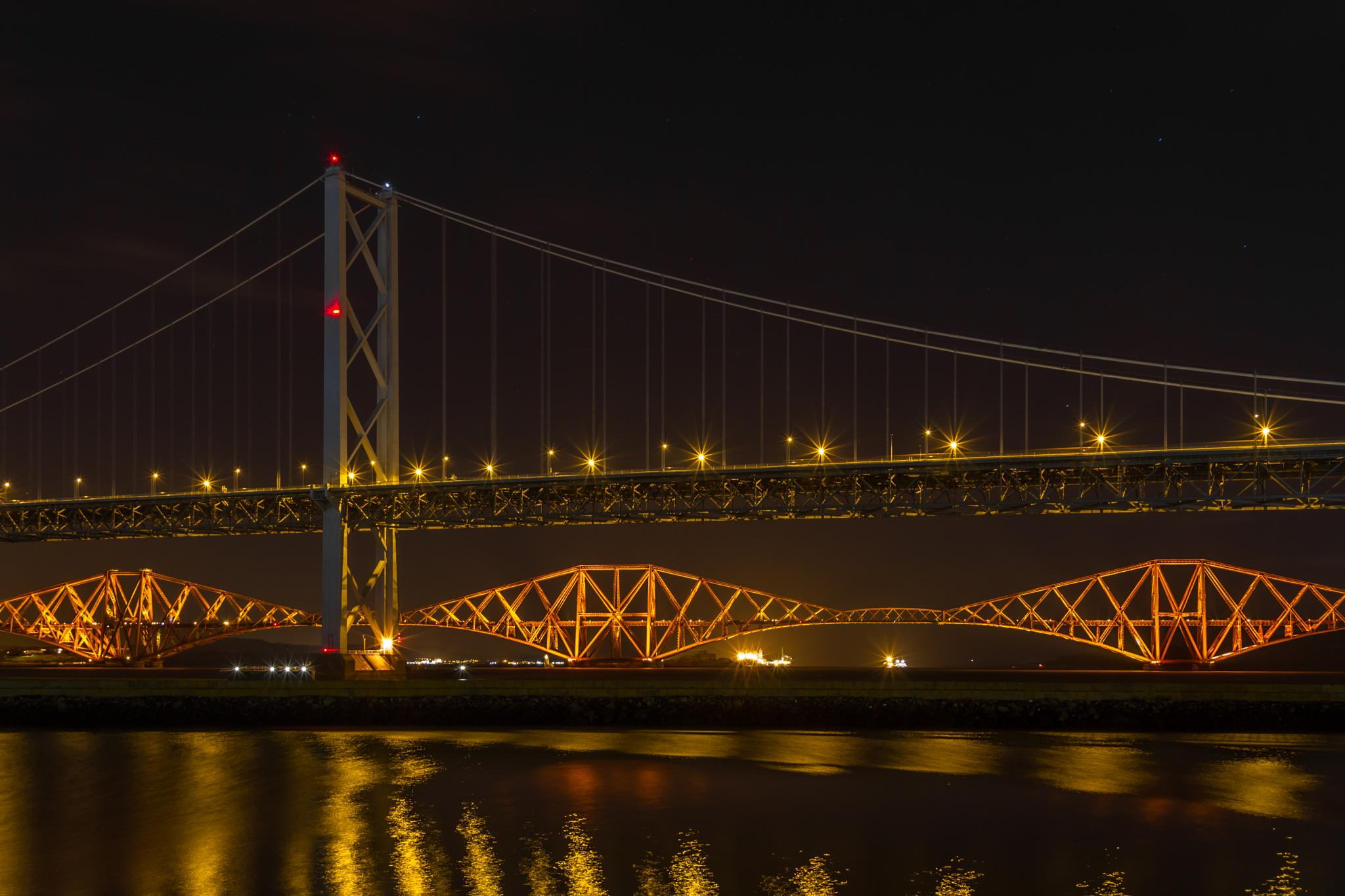 Forth Road and Rail Bridges at Night, Scotland, UK by Andy Horne