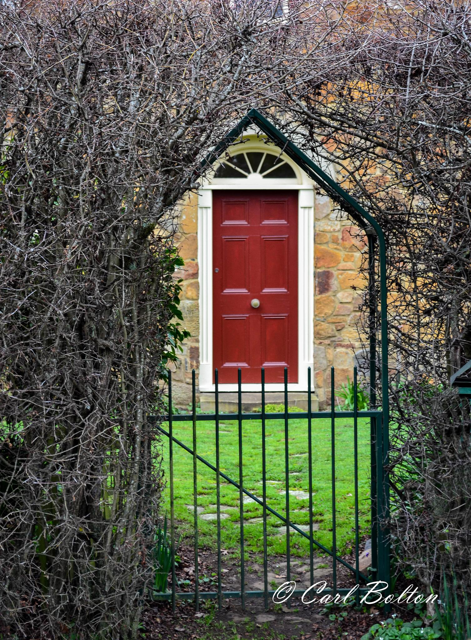 Photo in Landscape #door #red #framed #arch