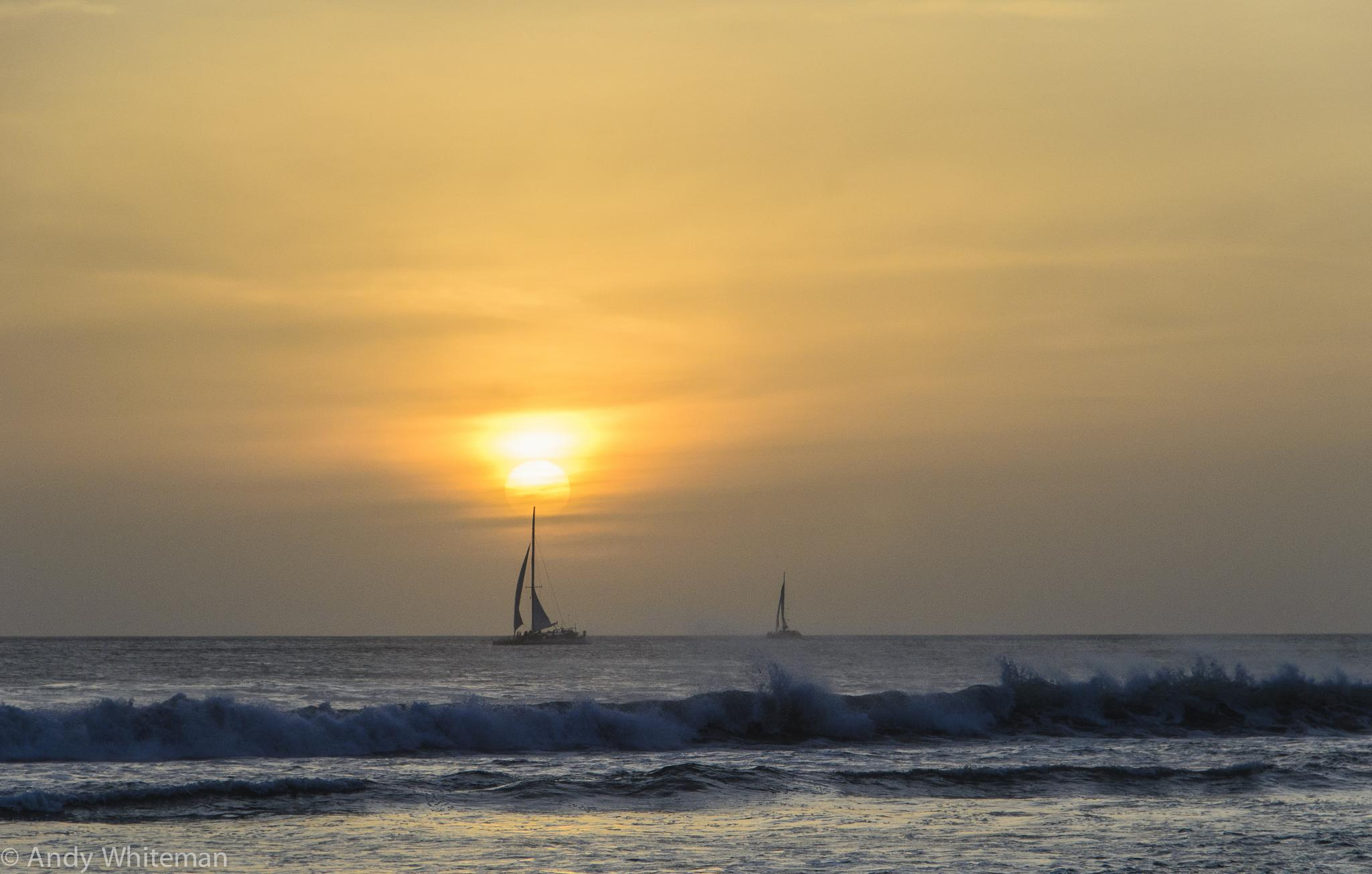 Two sailing ships @ Sunset by Smilin' Dog