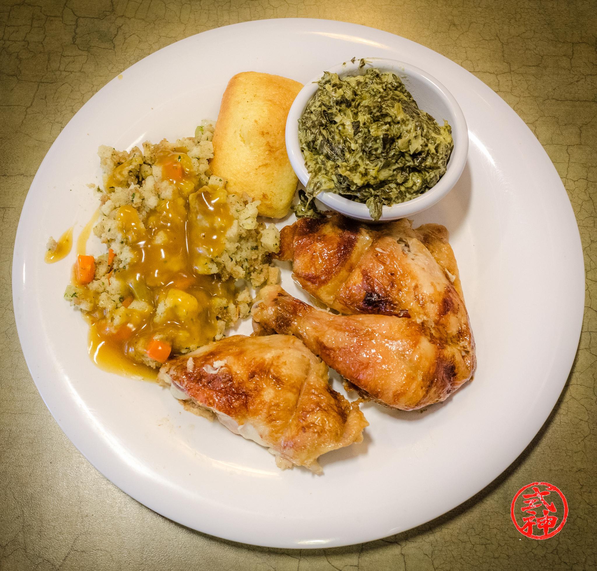 Photo in Random #boston market #who's hungry? chicken #cornbread #creamed spinach #food #restaurant #resturaunt #stuffing #vegtables