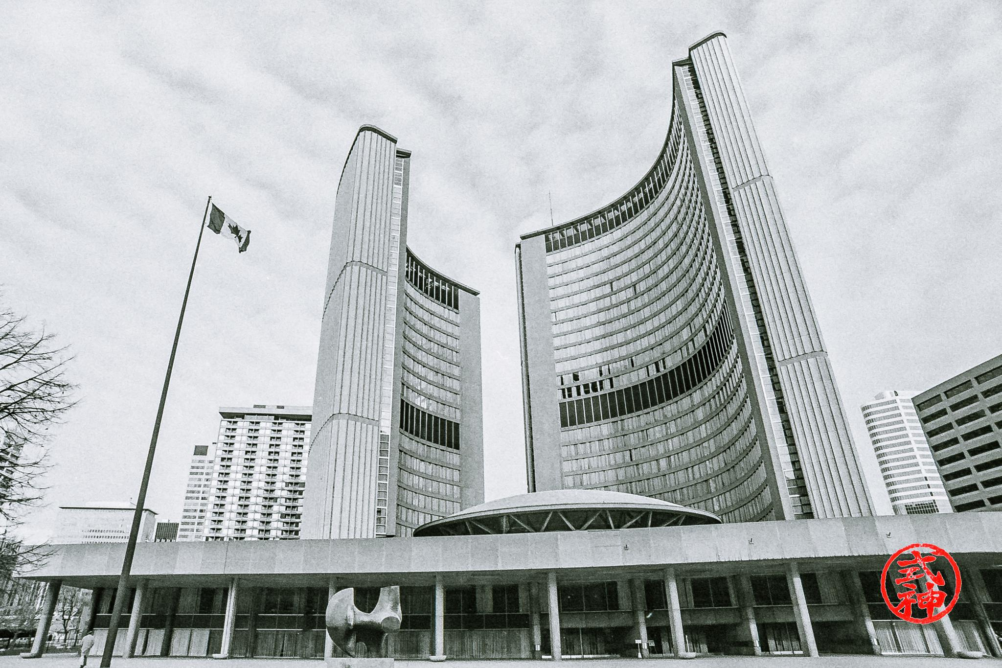 Photo in Random #canada #canadia flag #epson v850 pro #hp-5 #ilford #toronto #toronto city hall #toronto*b&w #film #film still #flag #negative