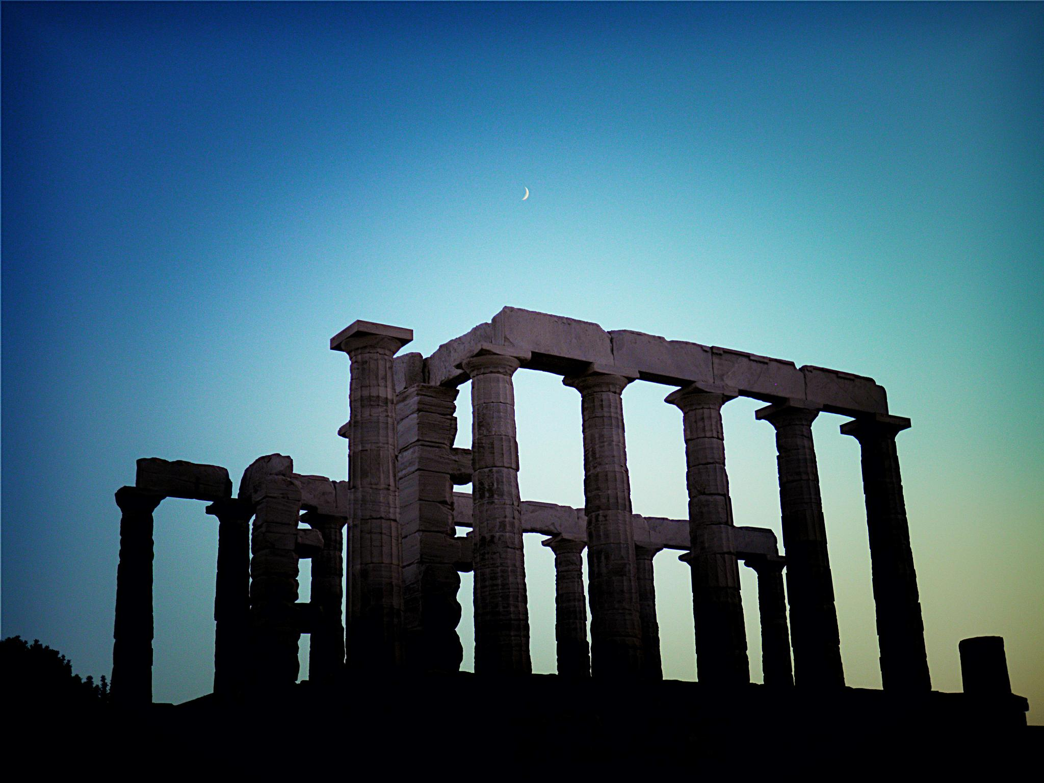Photo in Architecture #poseidon's temple #cape sounion #attica #greece #ancient #archaeological site #dusk