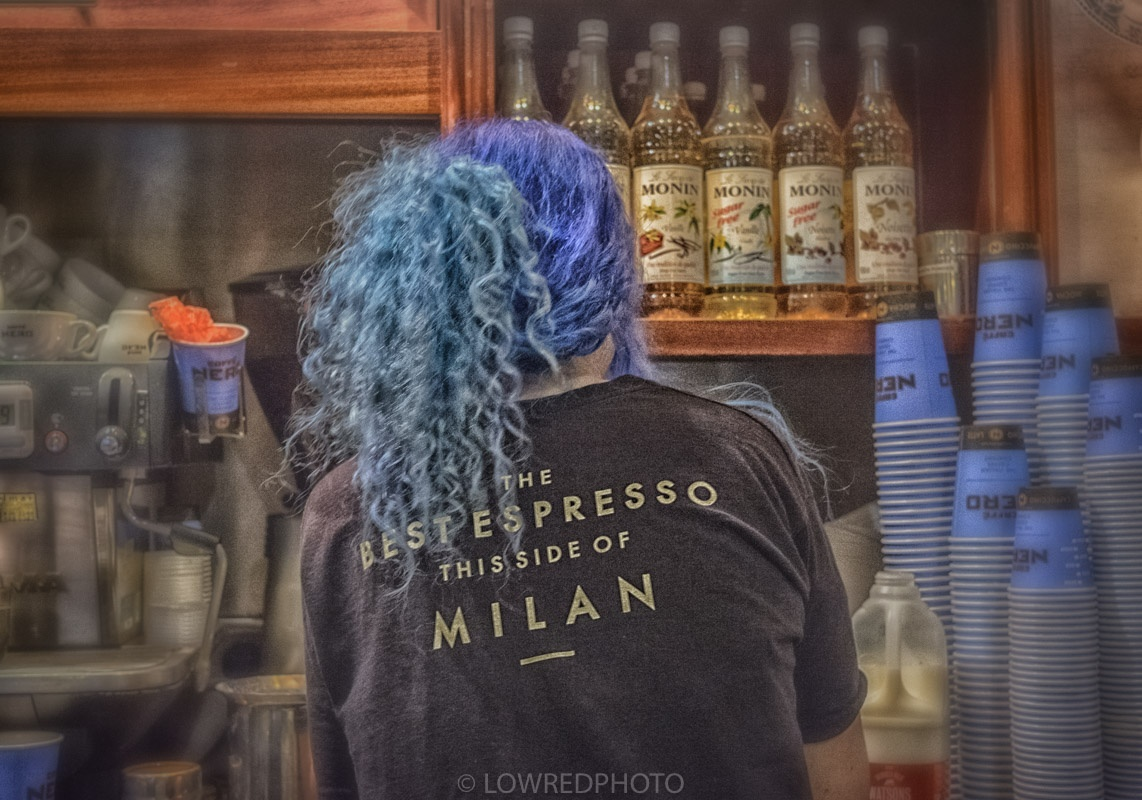 'Blue cups blue hair' by LowRedPhoto