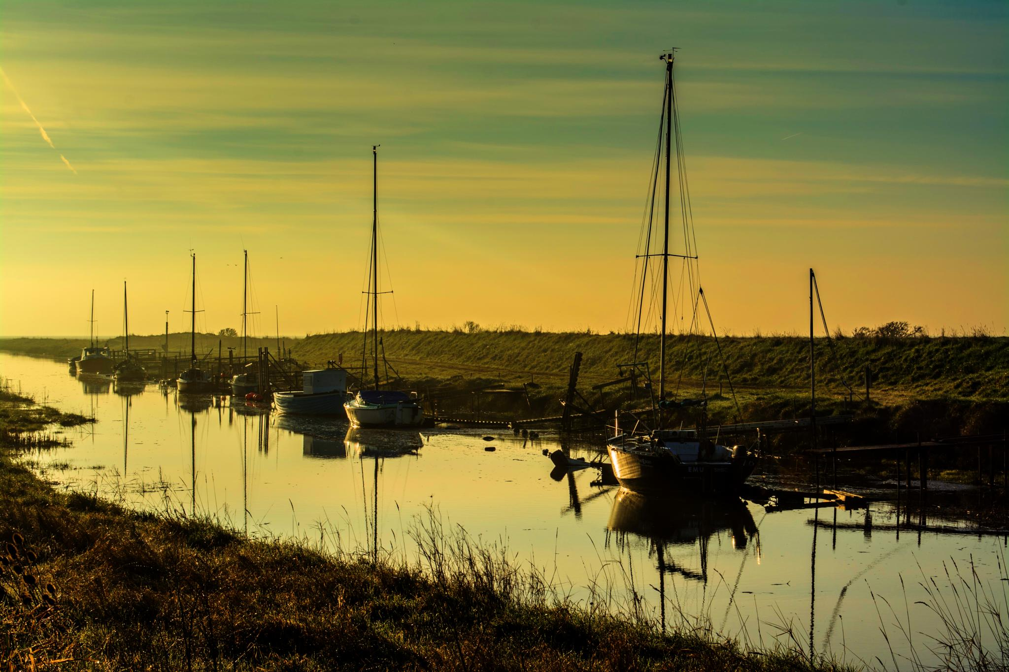 Photo in Landscape #boats #haven #sunrise #dawn #saltfleet