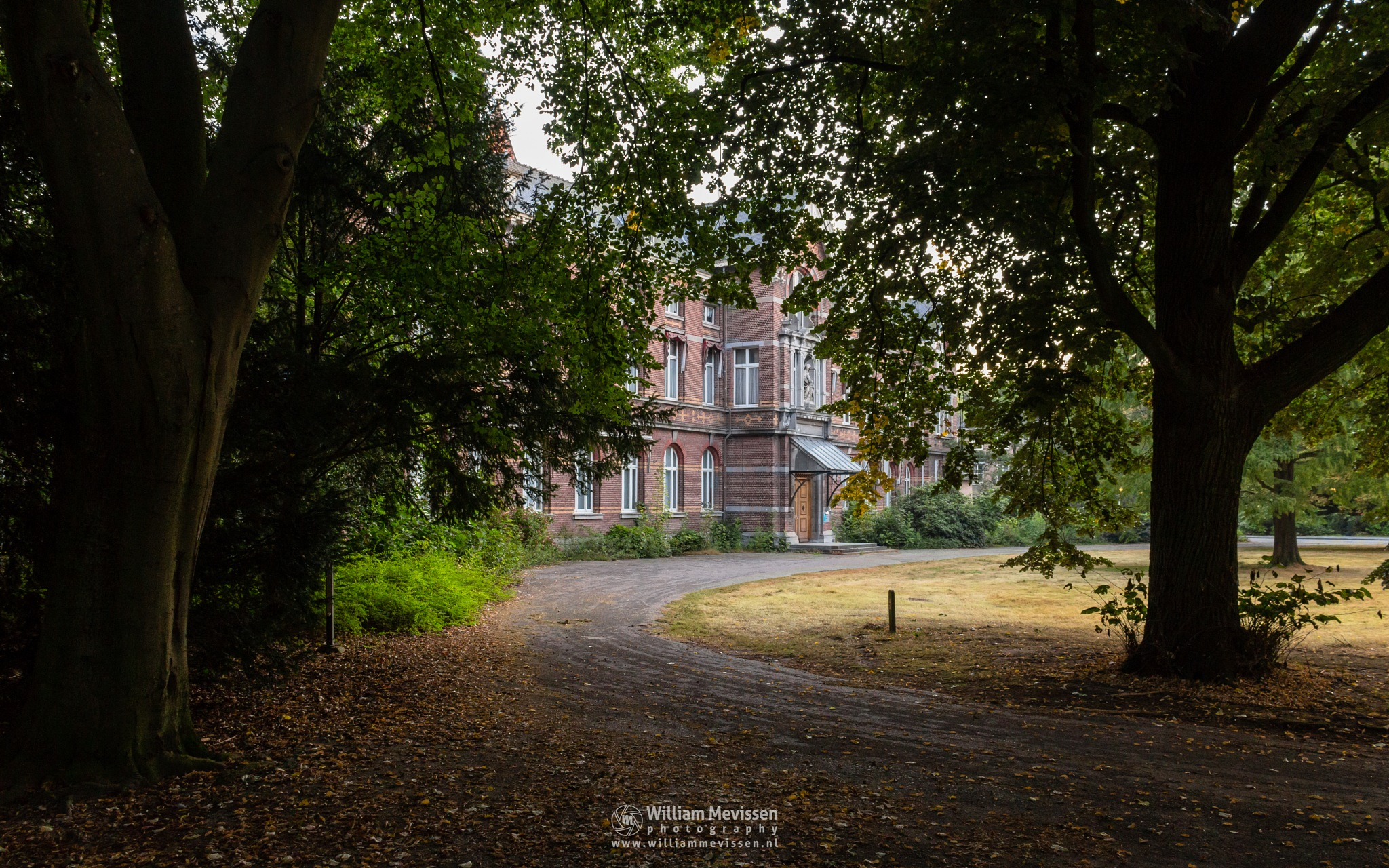 Photo in Architecture #trees #pine #forest #limburg #noord-limburg #venray #st. annaterrein #sint annaterrein #nature #green #sunrise #historical #psychiatric #hospital #heritage #decay #light #mood #path