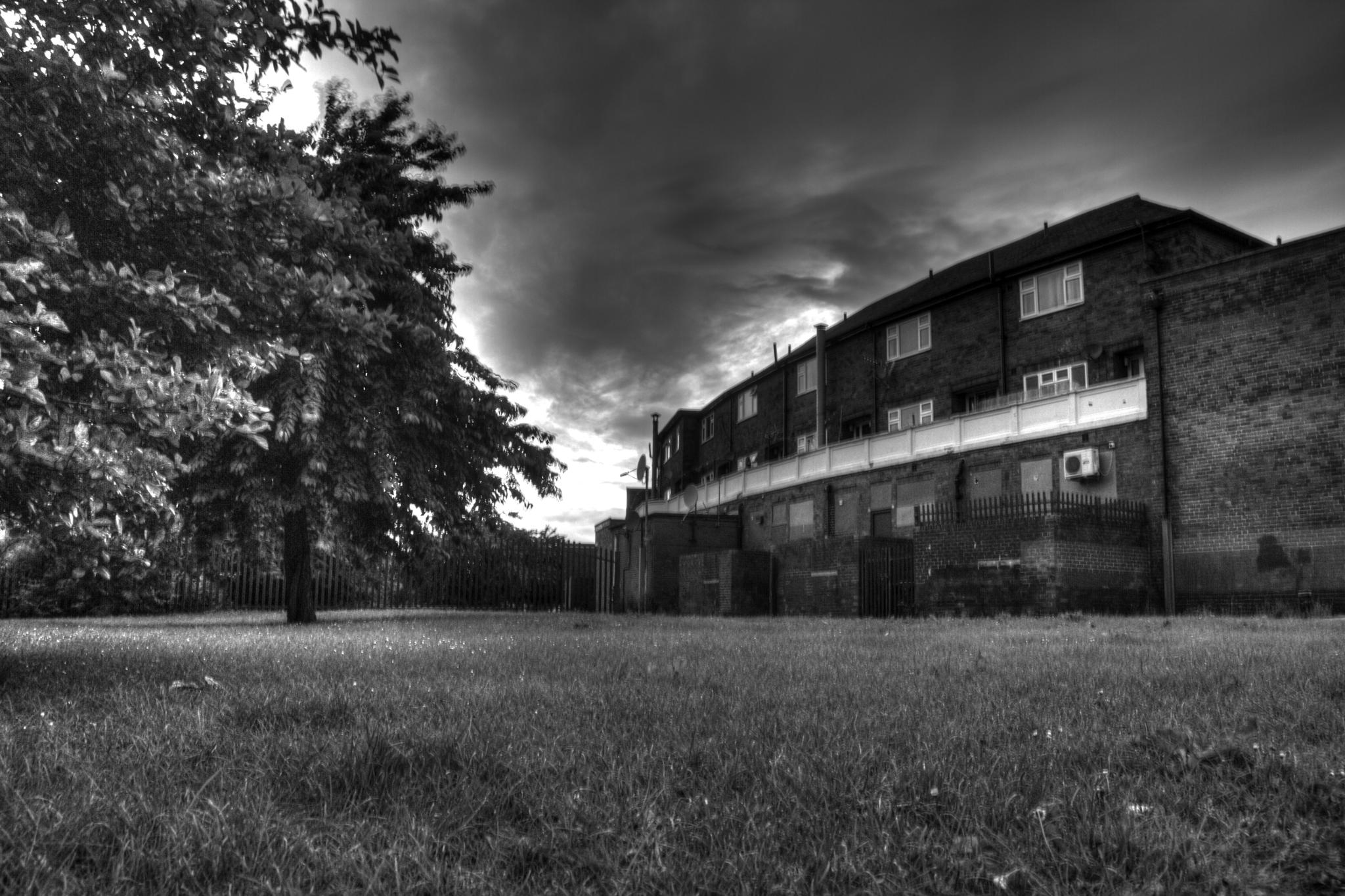 Behind shops by Jason Lavine
