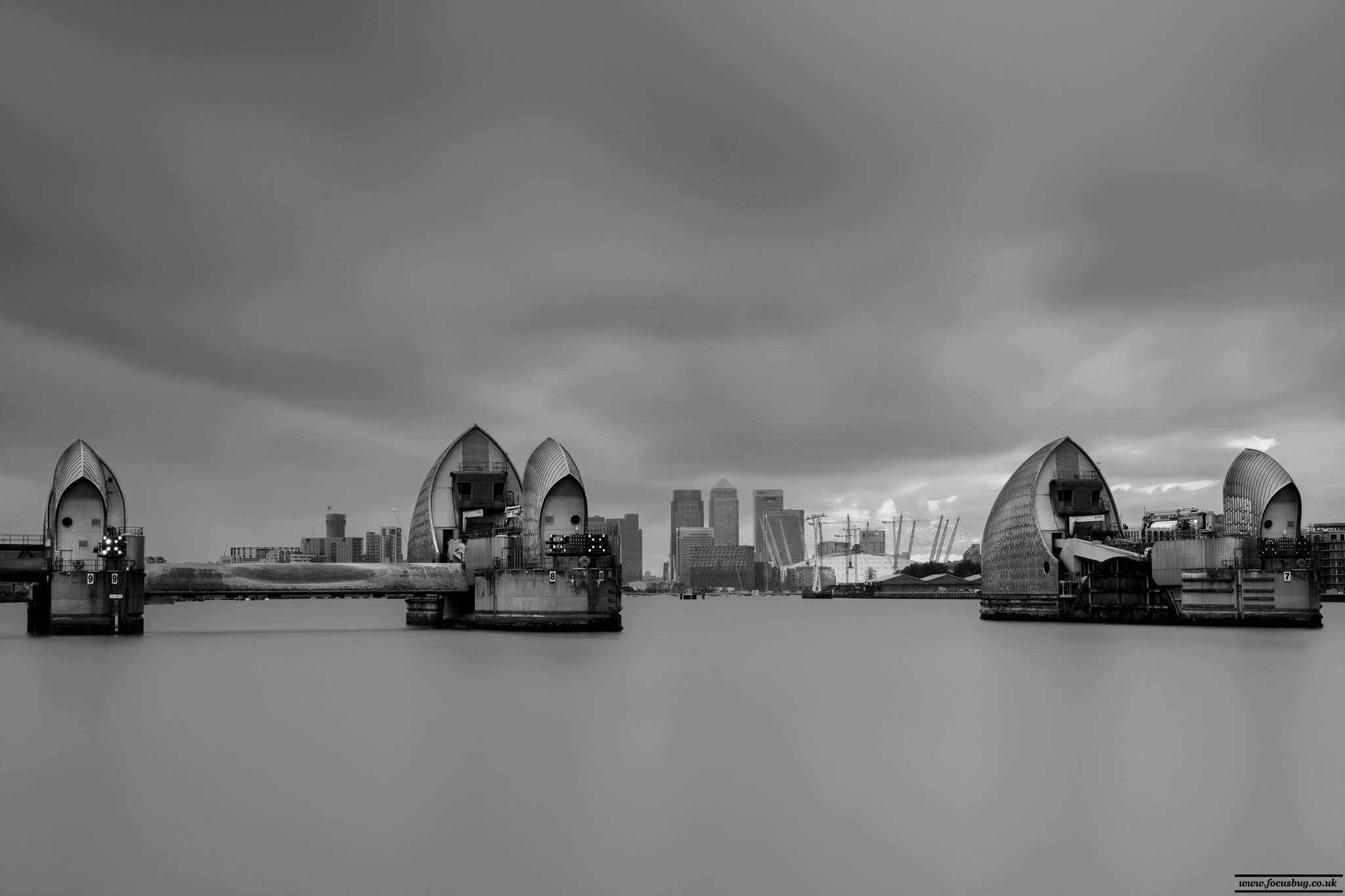 Thames Barrier, Black and White by DuncanArnold