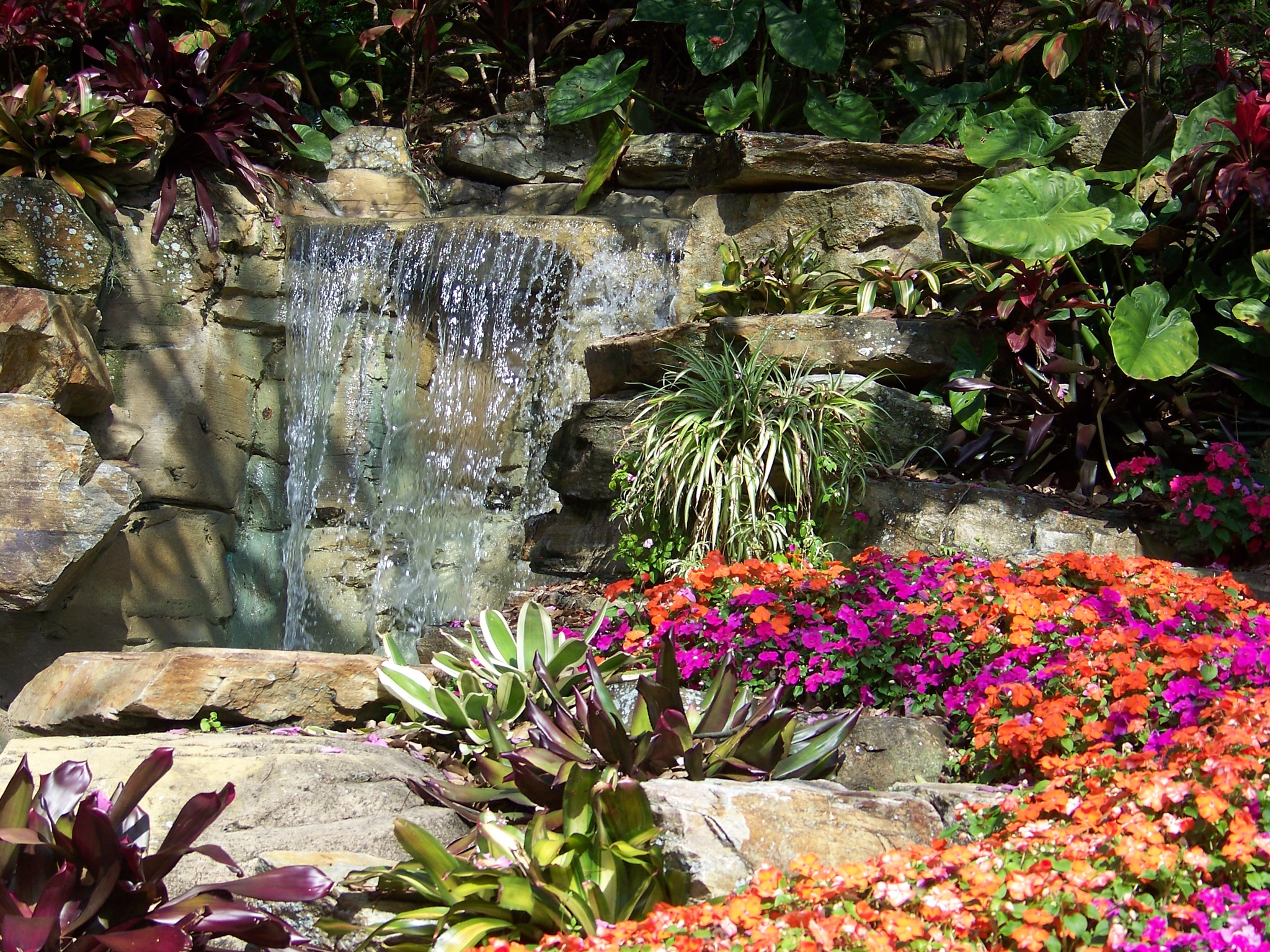 Waterfall and flowers by Julie