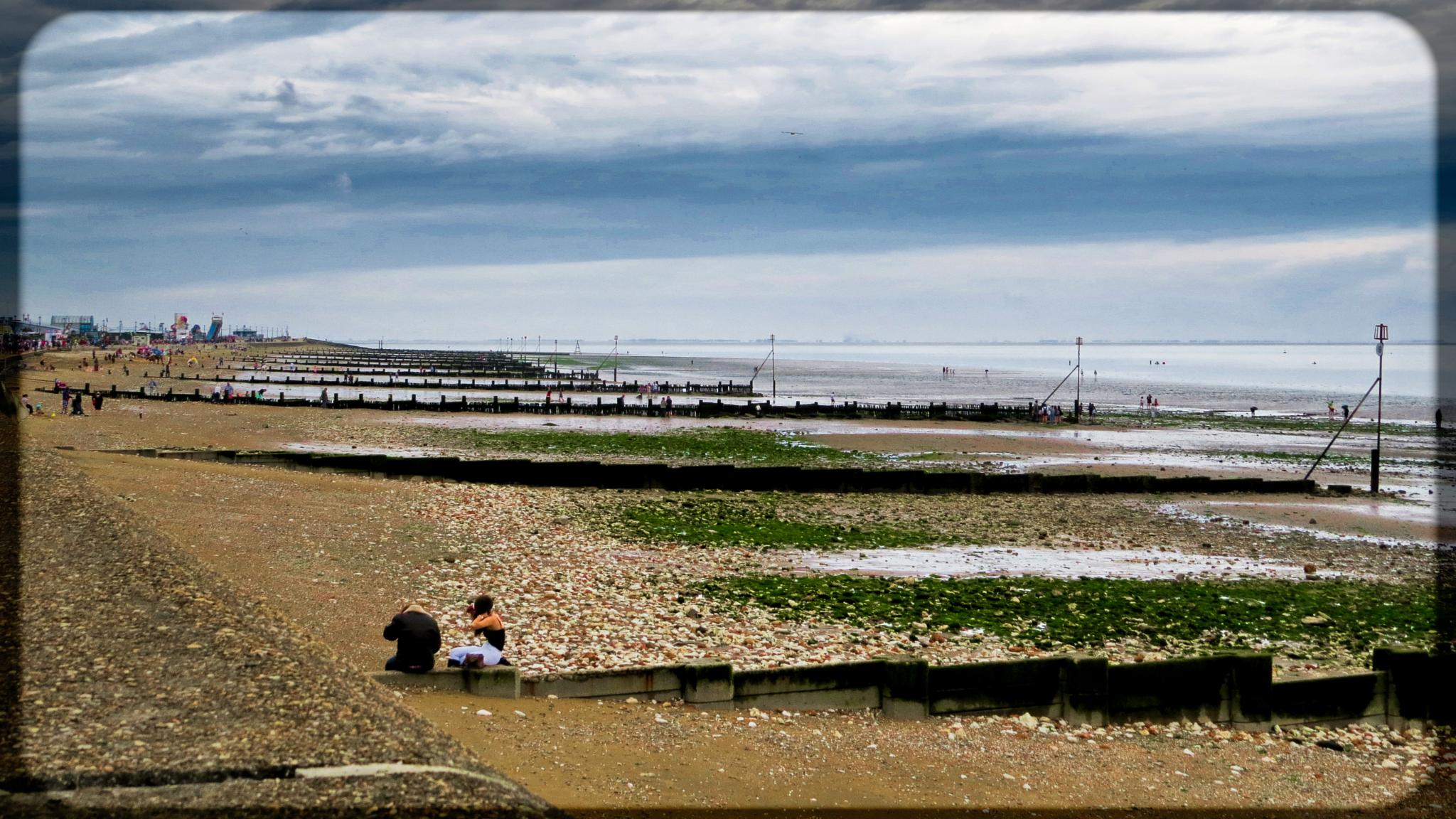 Hunstanton Seaside on a very cloudy day. by June