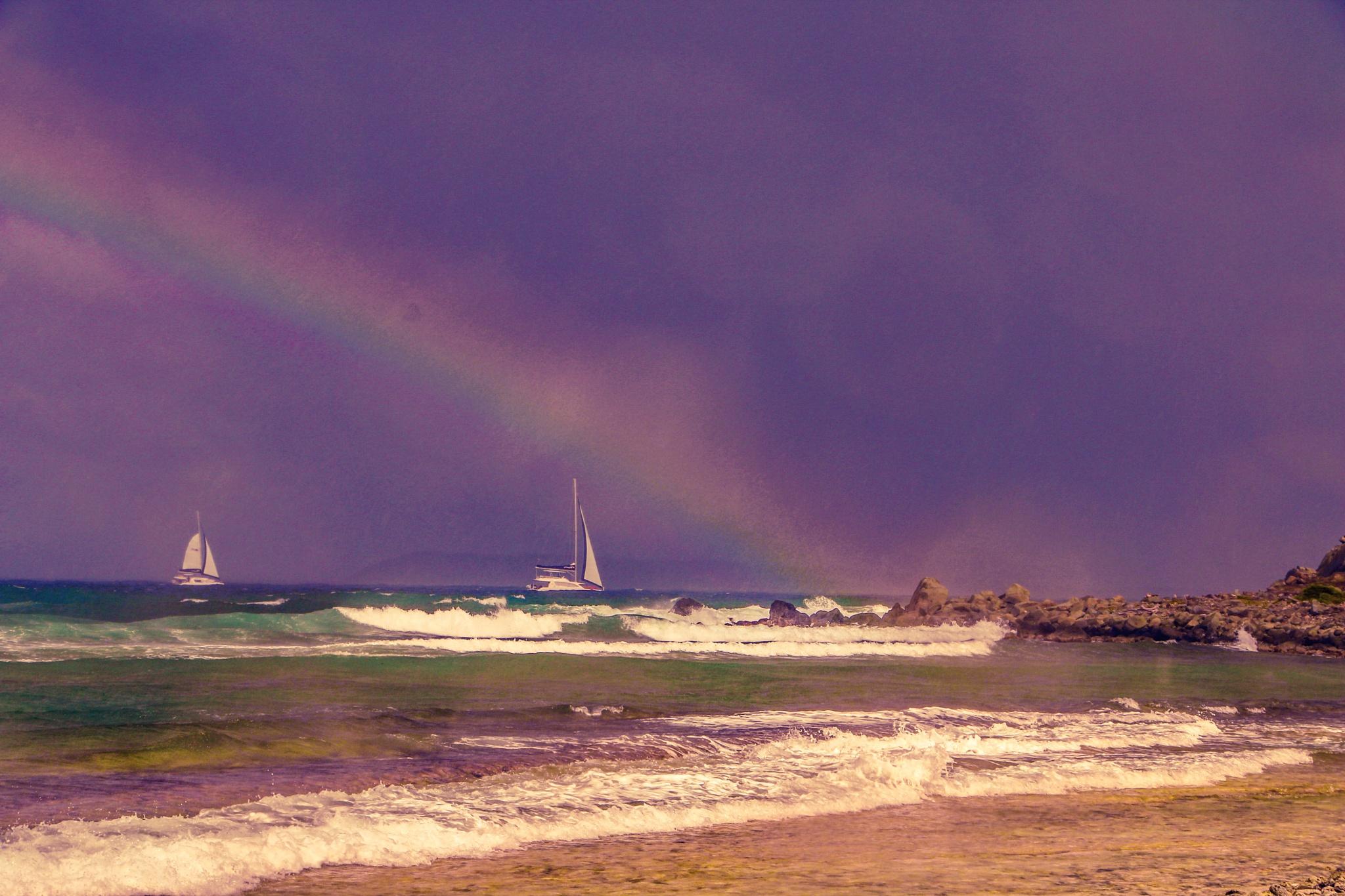 Waves, sails and rainbow by djaffar adane