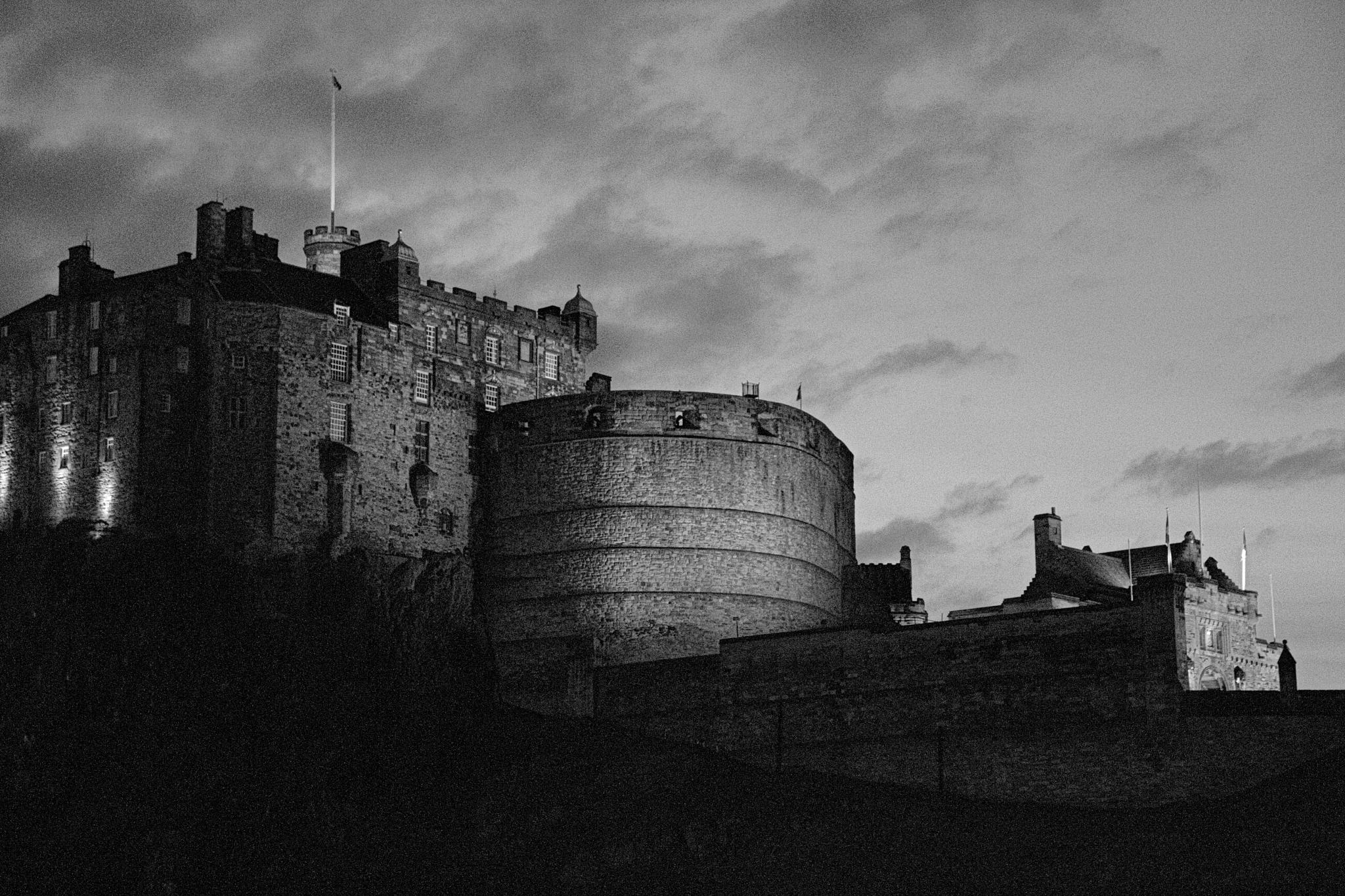 Edinburgh Castle at night black and white version by Andy Gregory Photography