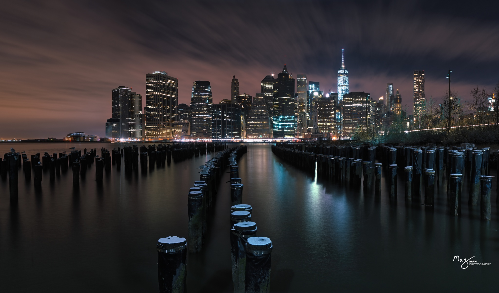 Manhattan at Night  by Maz Zabaneh