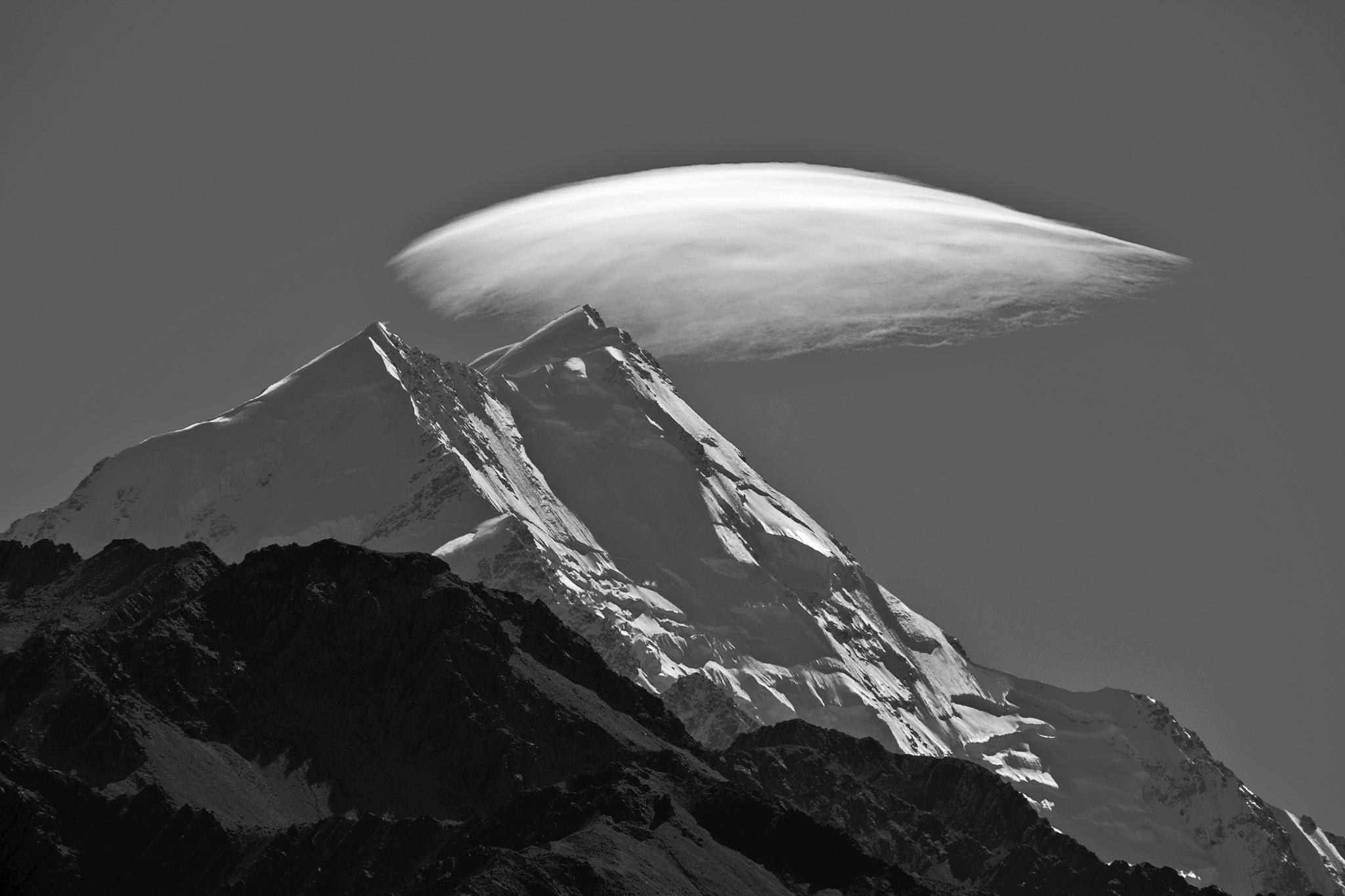 Mt Cook under her veil by Peter Cannon