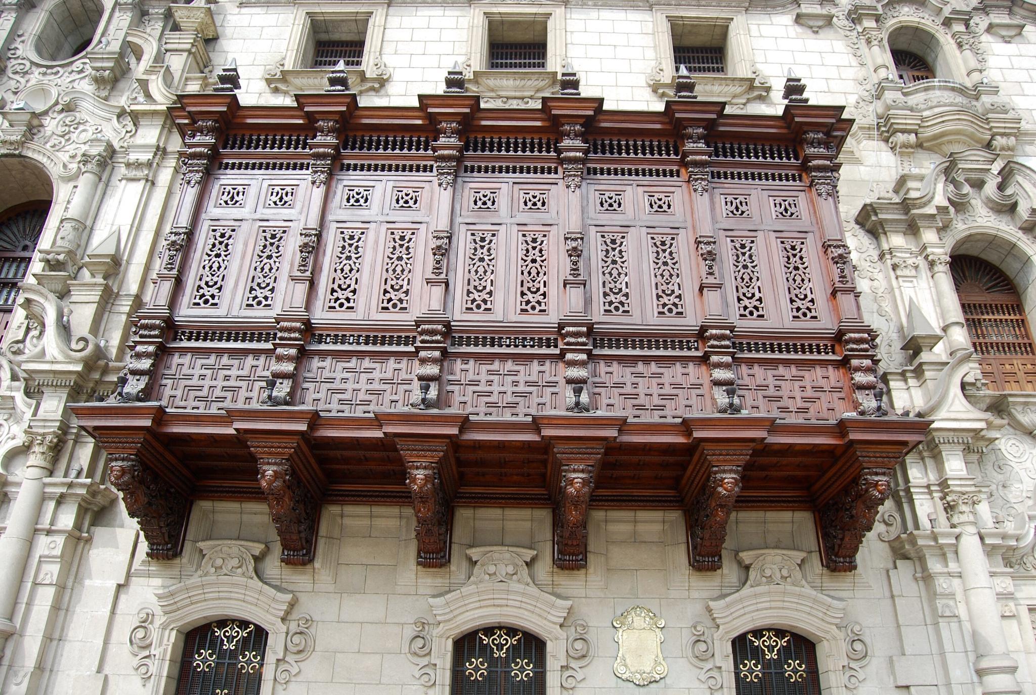Wood balcony typical for Lima and Peru by Adi Gli