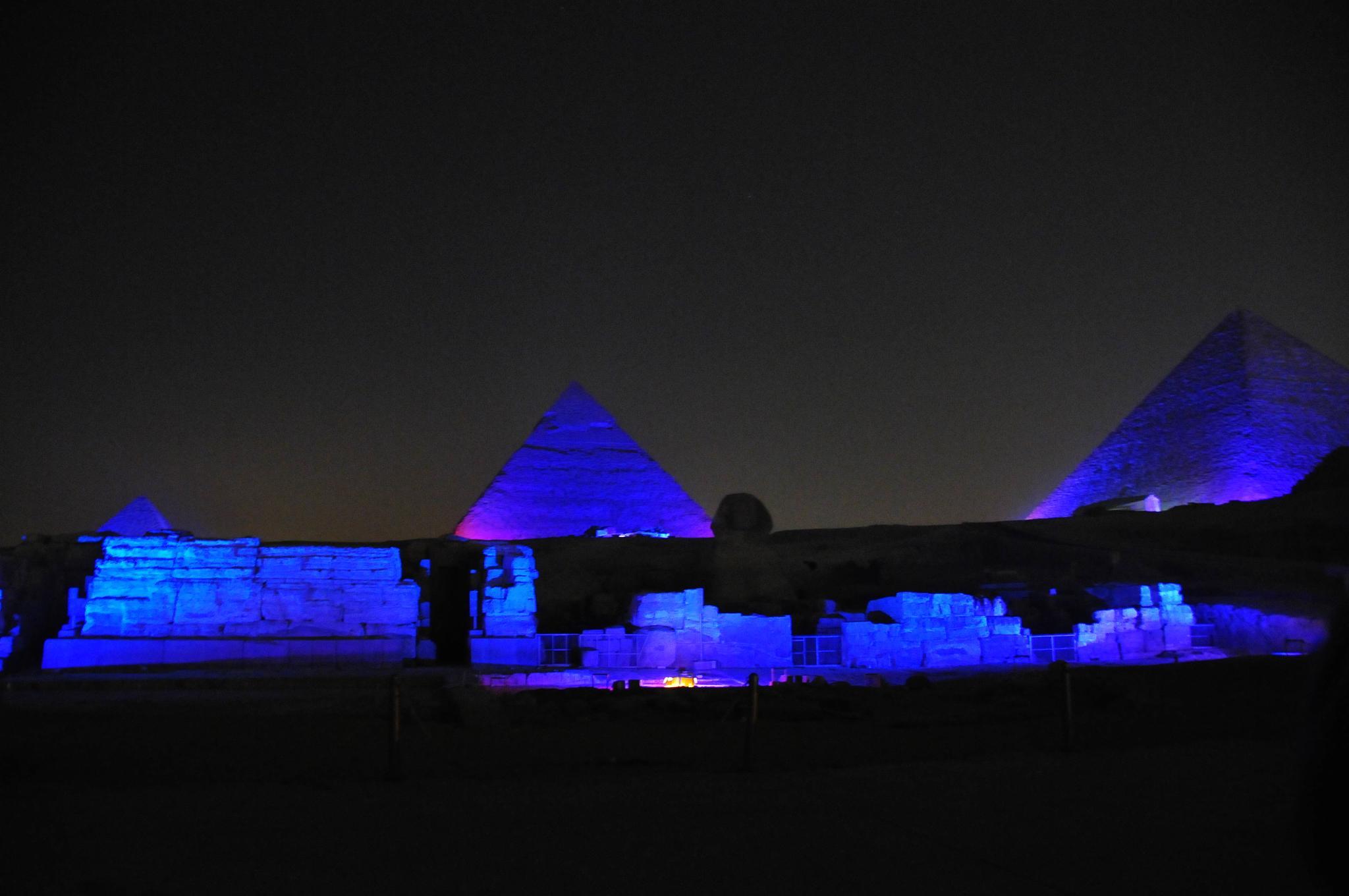 Pyramids at Giza Light Show by Serge Kay