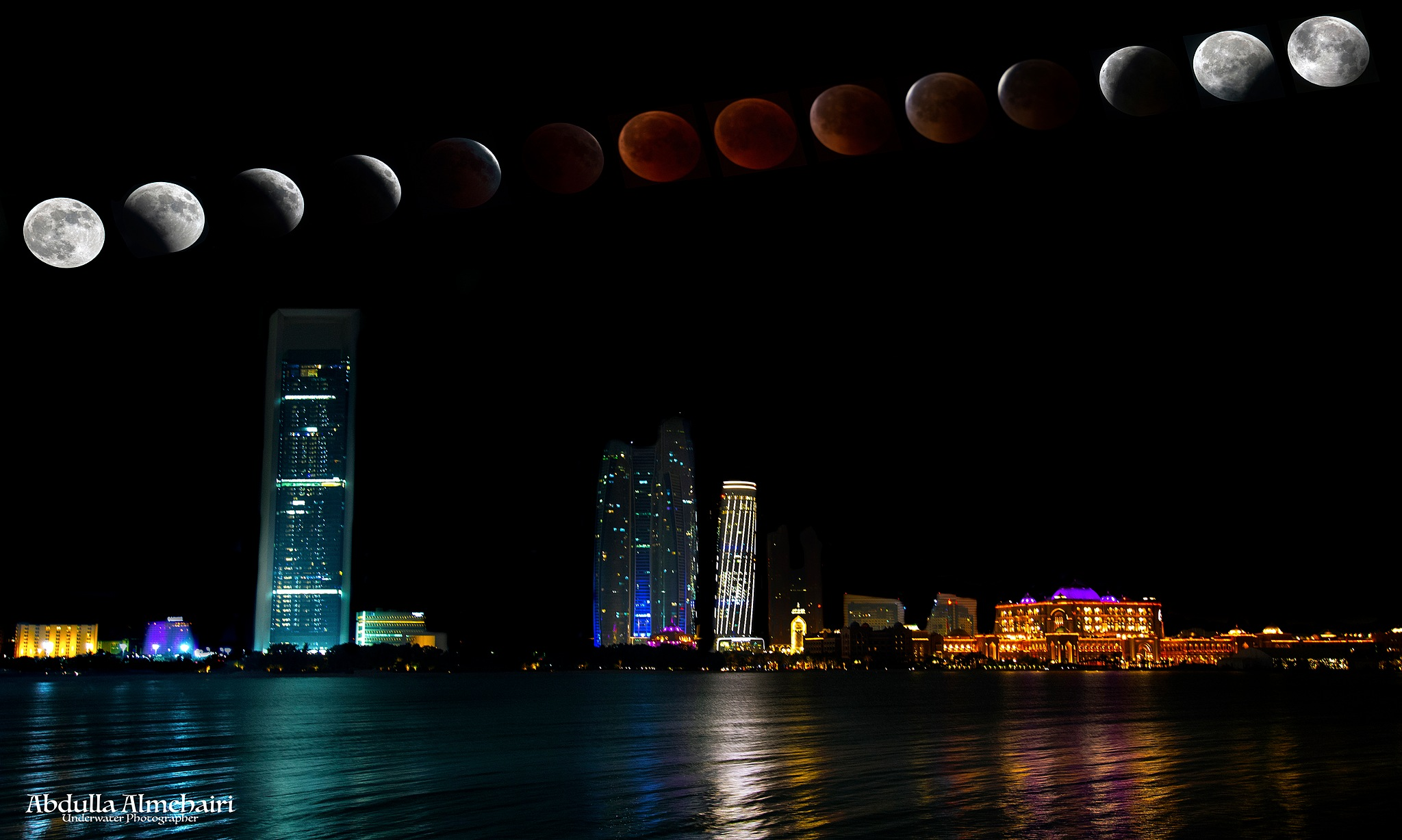 Moon at Abu Dhabi  by Abdulla Almehairi