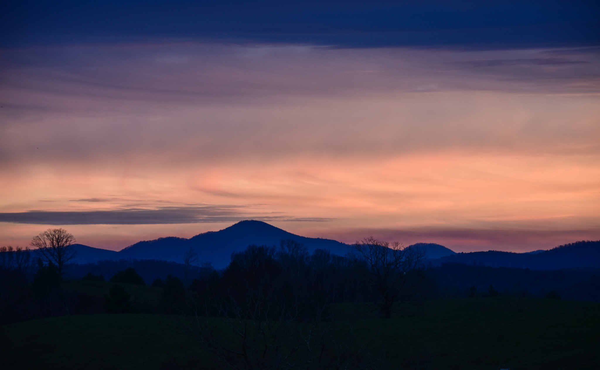 Winter Sunset in the Blue Ridge by Bonita Loggins