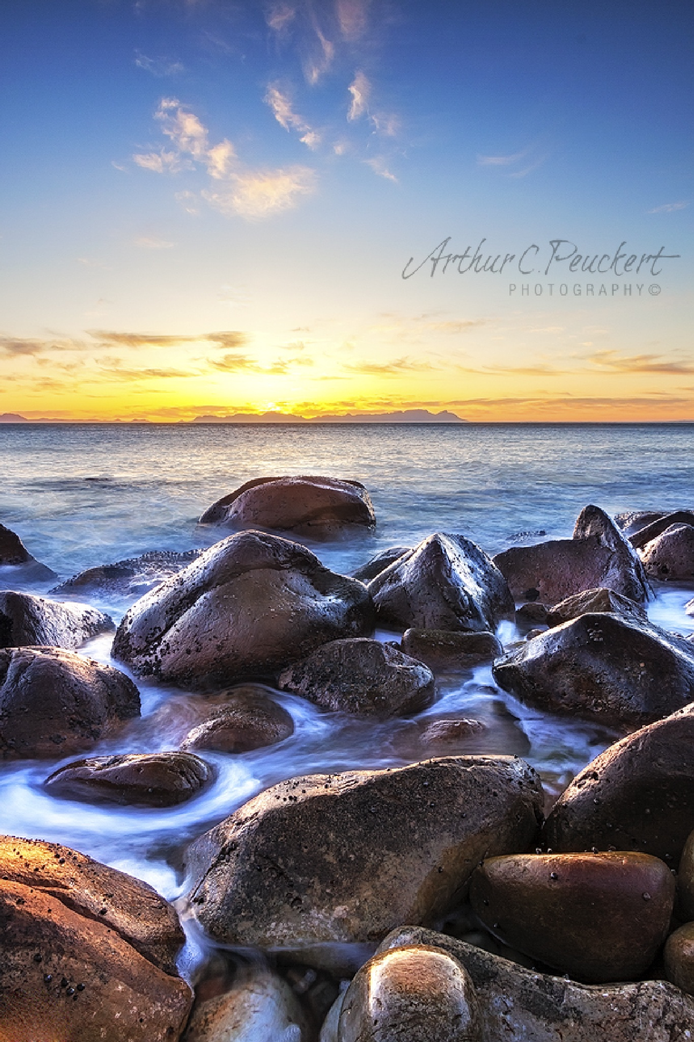 Sunset over False Bay, Western Cape, South Africa. by arty999