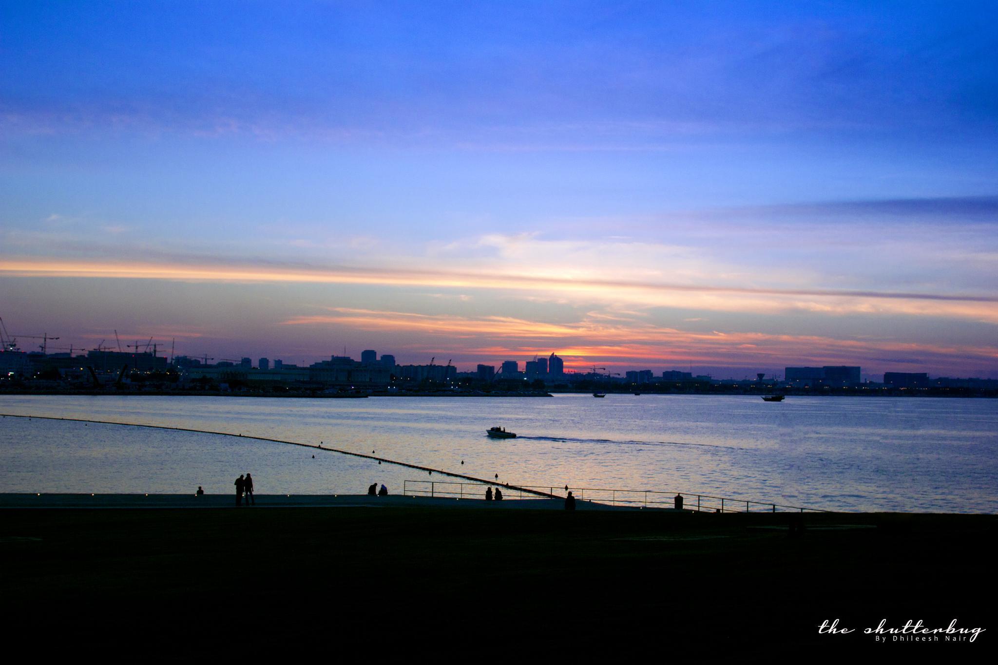 Photo in Cityscape #doha #seemydoha #landscape #mycity #cityscape #evening #sea #blue #sky