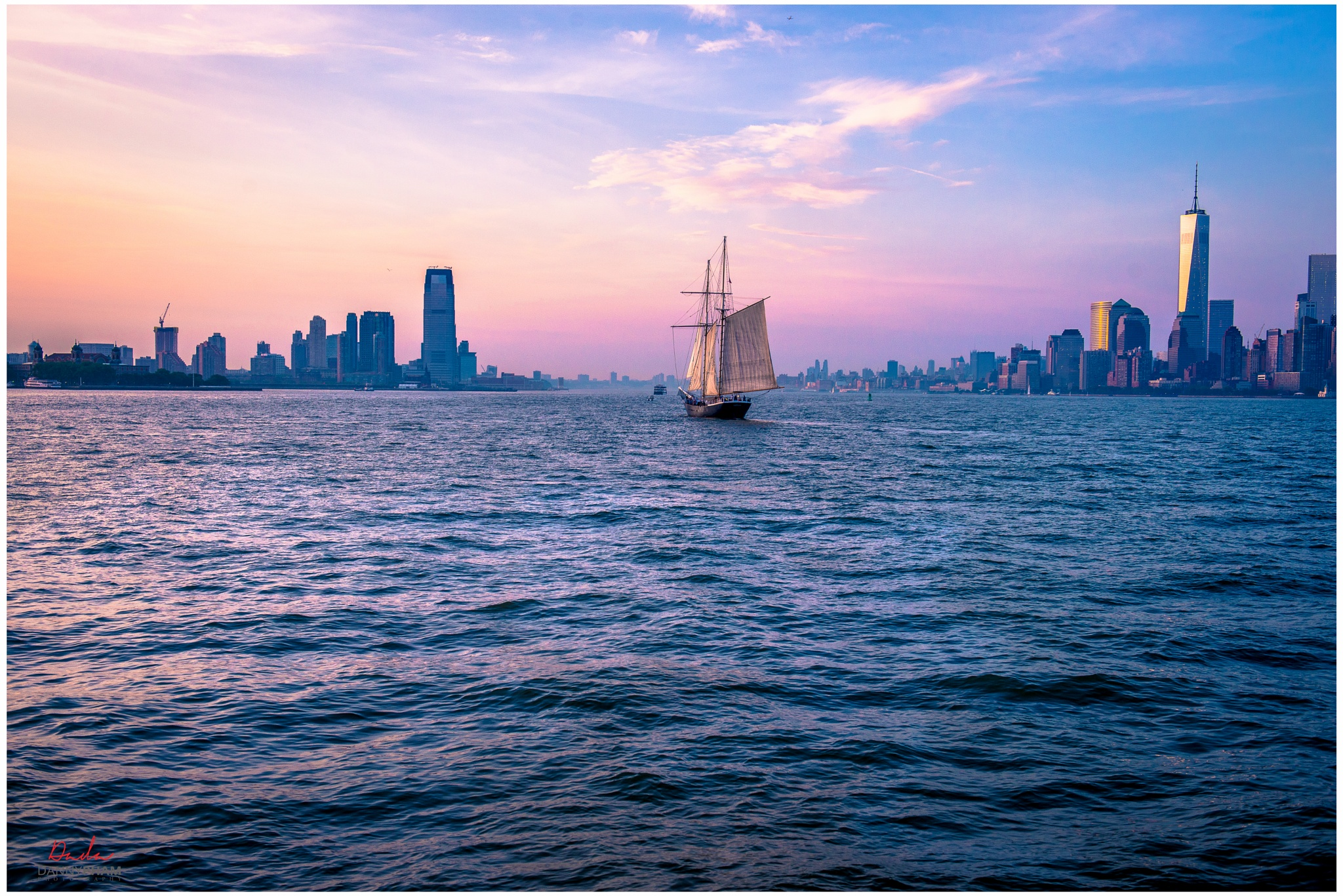 Sailing into Sunset @ Hudson River! New York City & Jersey City back ground by Danny Pham