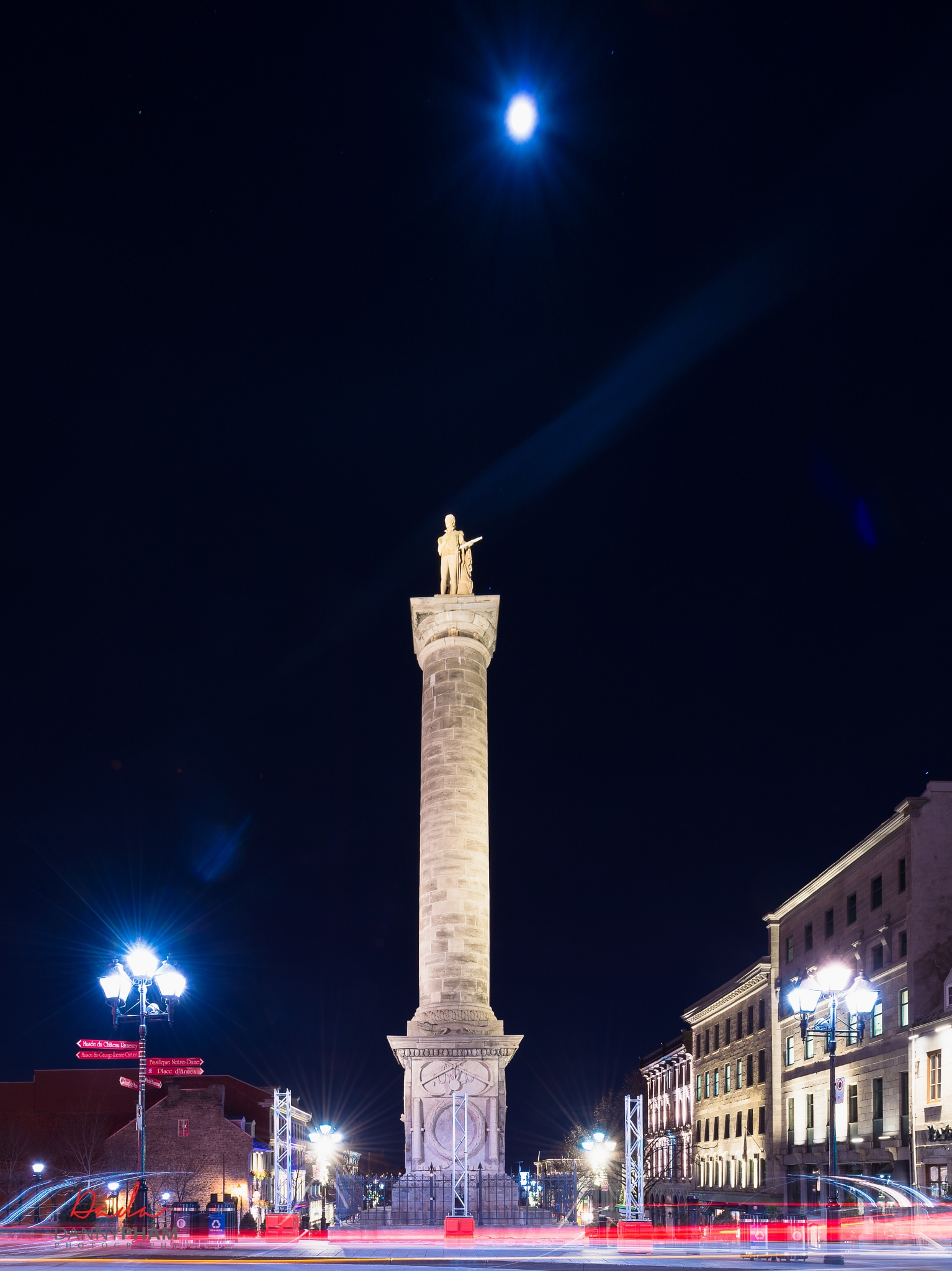 Old Montreal, Canada - Full Moon above! Dec. 25, 2015 by Danny Pham