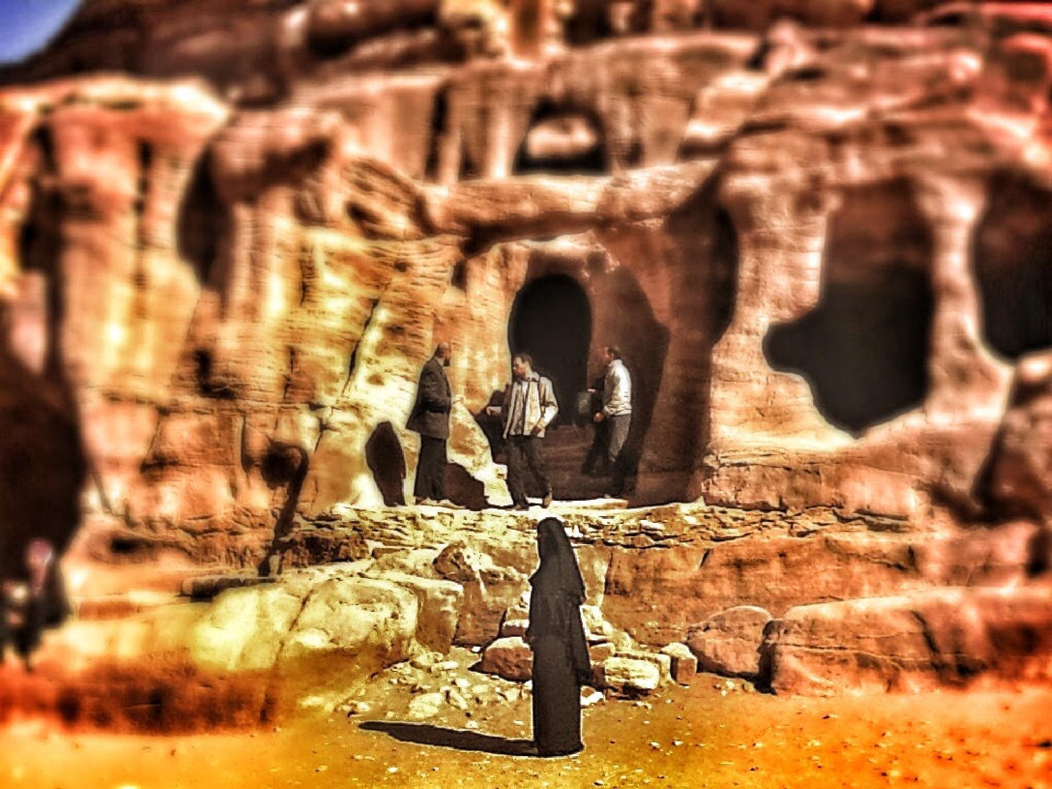 Woman in black in Petra 2 by Meriç Aksu