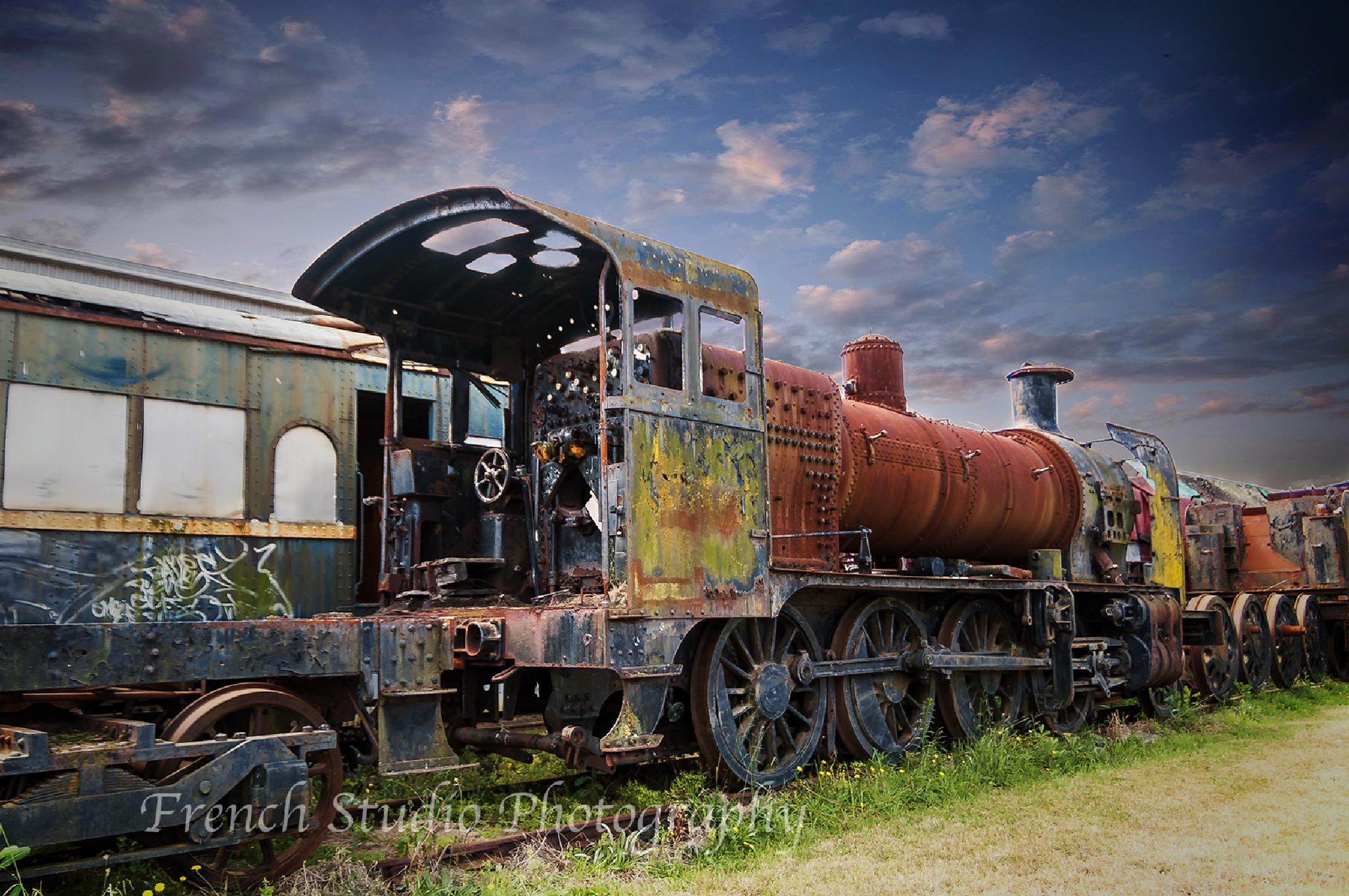 Photo in Random #train #locomotive #metal #old #track #clouds #blue #green