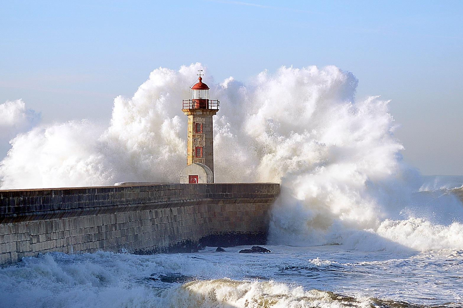 Photo in Landscape #lighthouse #sea #winter #fury #white #strong
