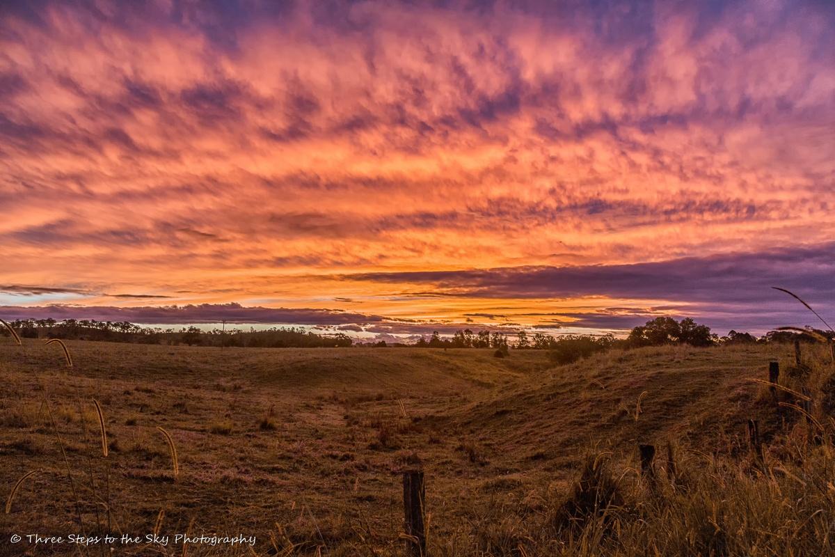 Photo in Random #sunset #rural #fields #sky #clouds