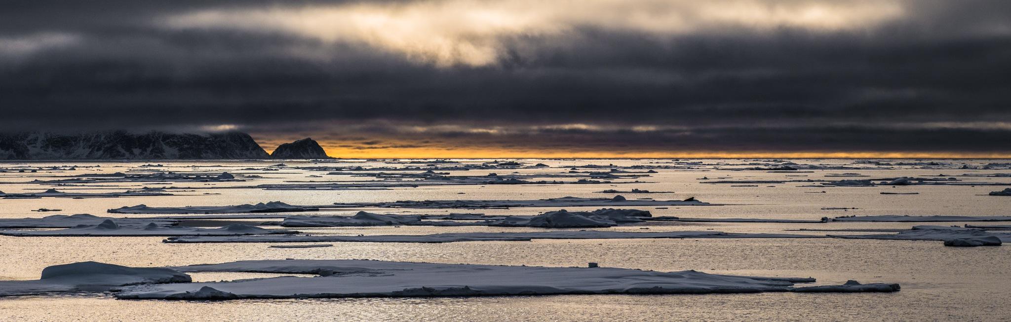 sunset, seven islands, svalbard by hutchst