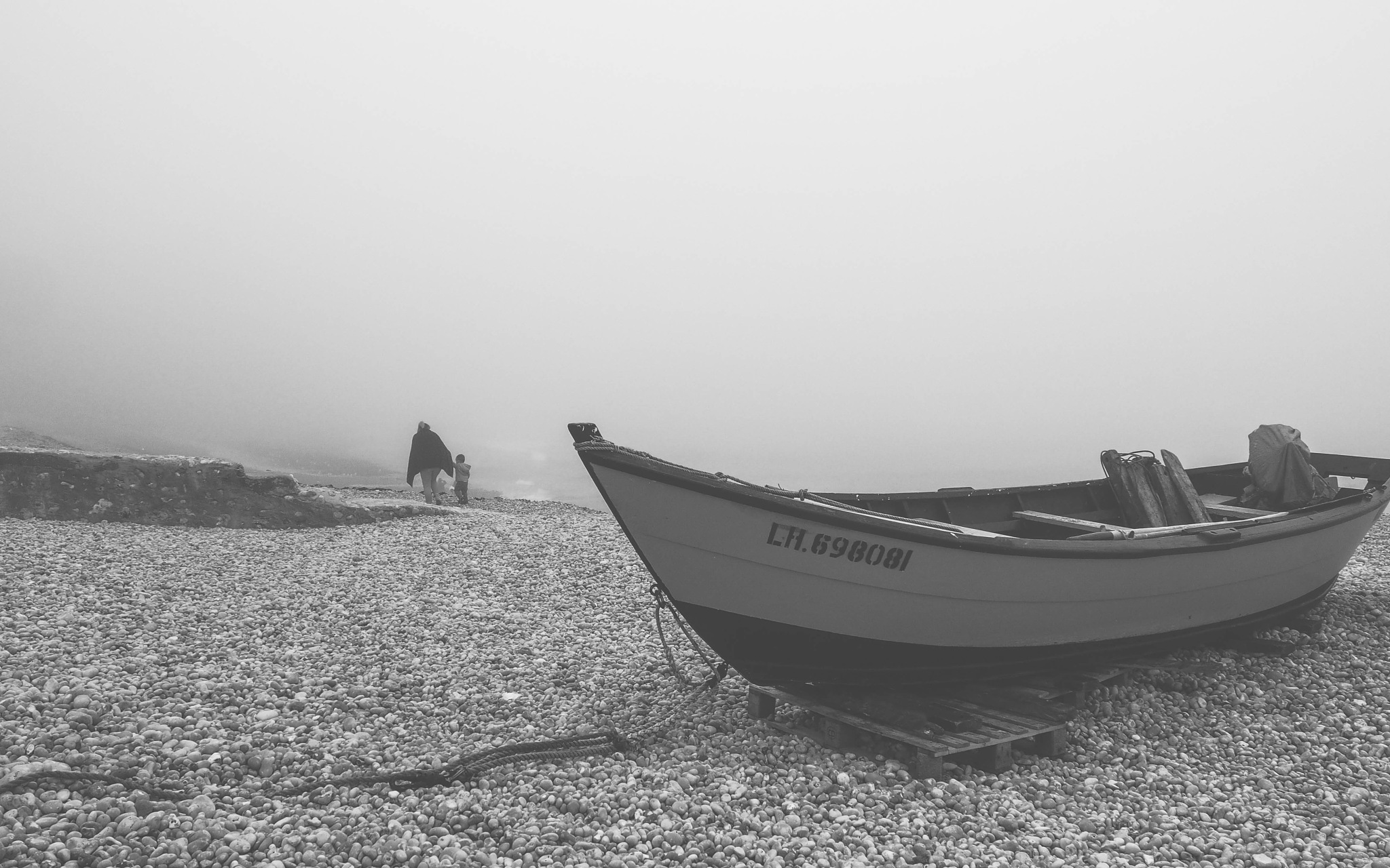 boat in the mist by alain michel