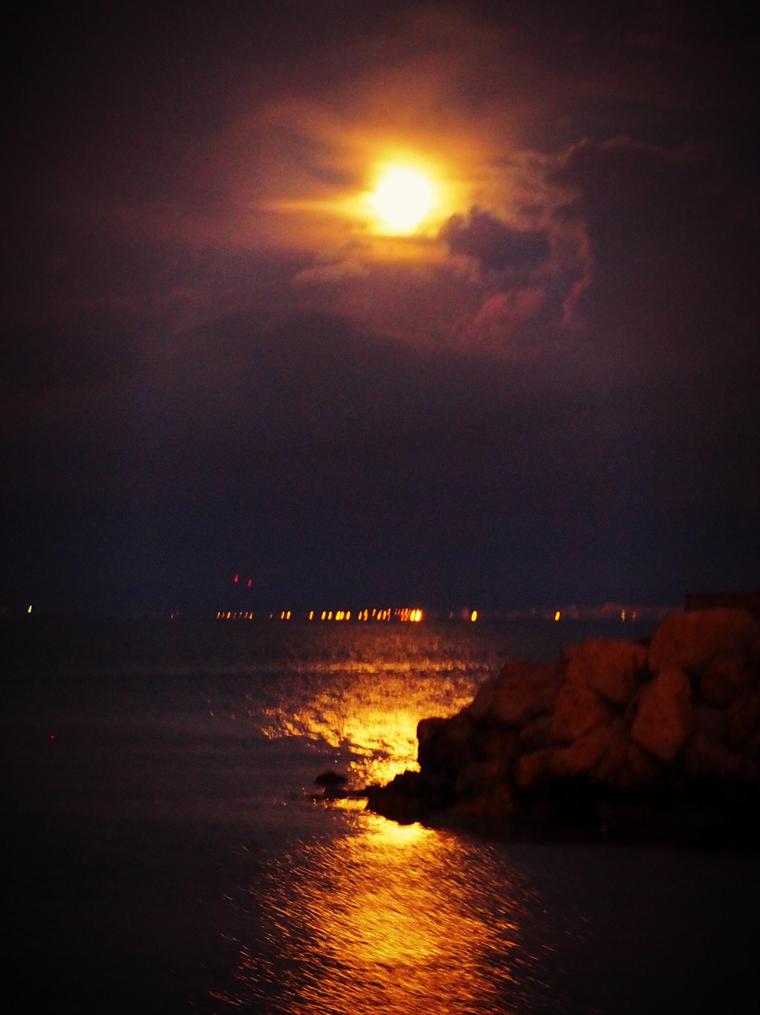 setting moon  by alain michel