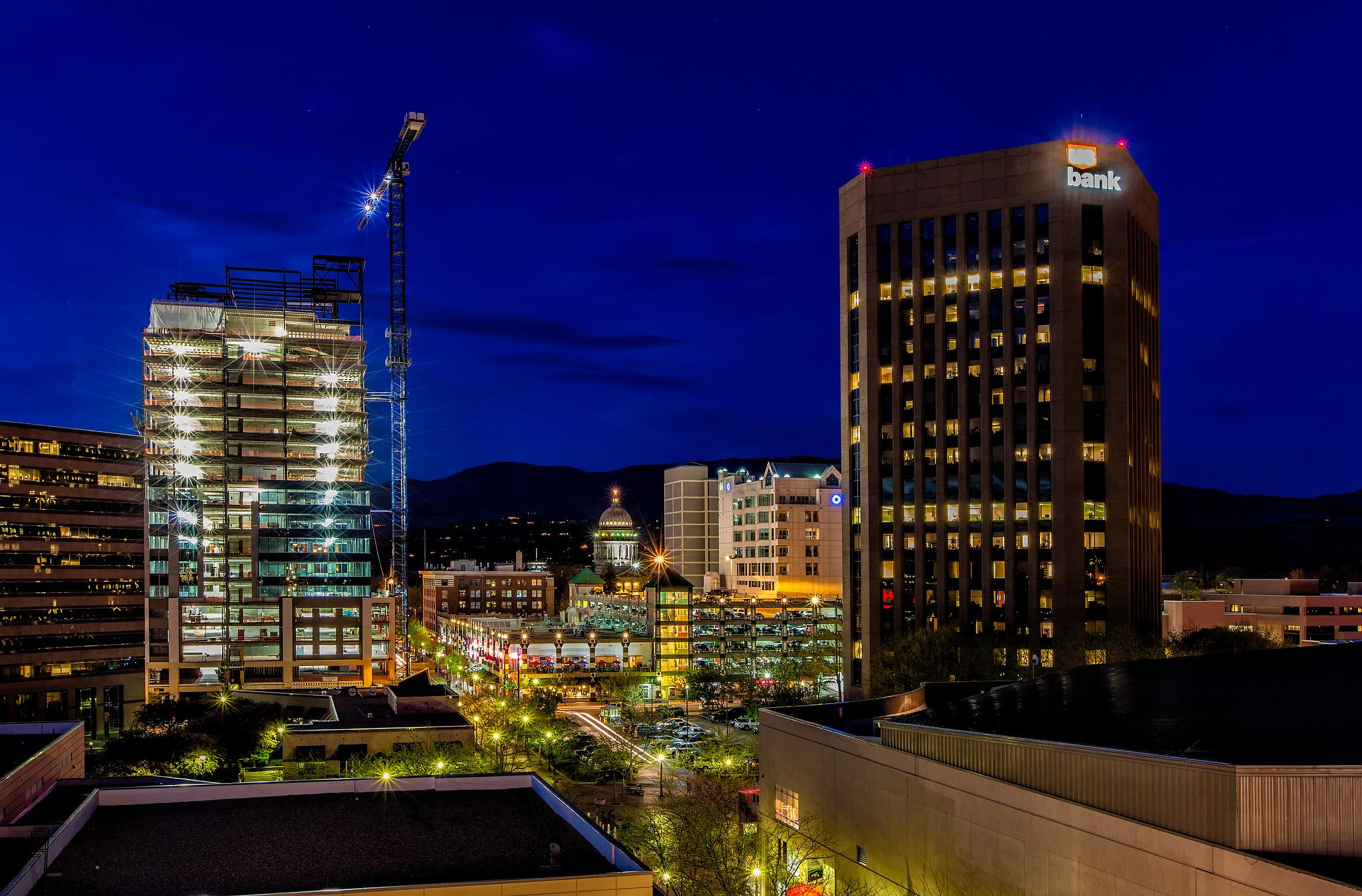 Boise, Idaho at Night by Bob Vaughan